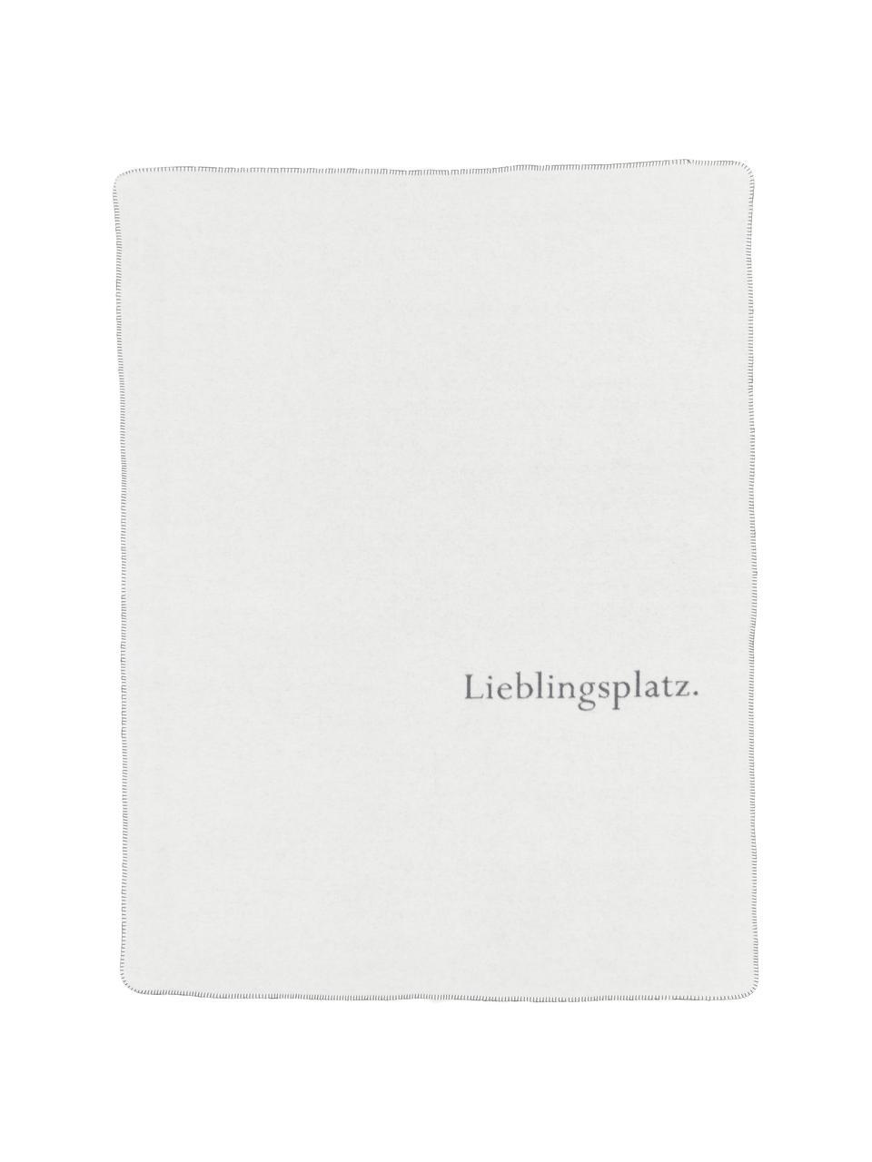 Kuscheldecke Lieblingsplatz mit Aufschrift, 85%Baumwolle, 8%Viskose, 7%Polyacryl, Grau, Weiß, 150 x 200 cm