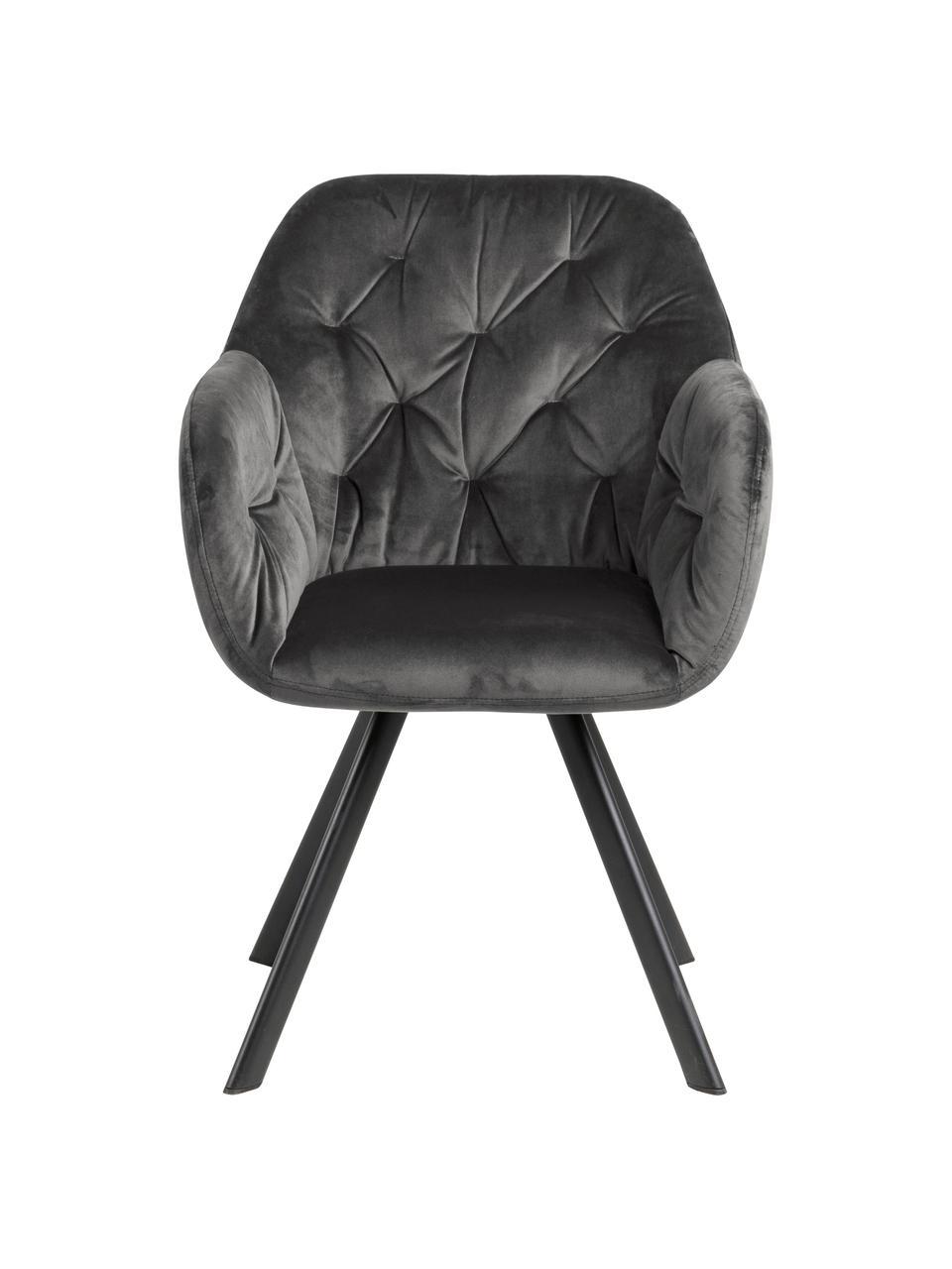 Chaise pivotante en velours et à accoudoirs Lucie, Velours gris foncé