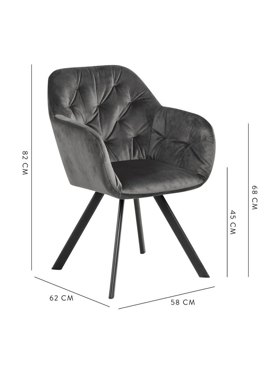 Krzesło obrotowy z aksamitu Lucie, Tapicerka: aksamit poliestrowy Dzięk, Nogi: metal malowany proszkowo, Aksamitny ciemny szary, S 58 x G 62 cm