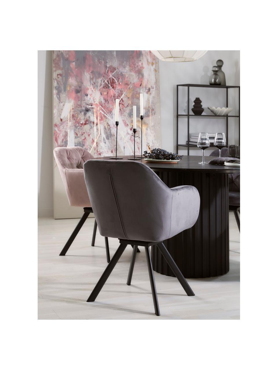 Fluwelen armstoel Lola, Bekleding: polyester fluweel, Poten: gepoedercoat metaal, Donkergrijs, zwart, B 58 x D 62 cm