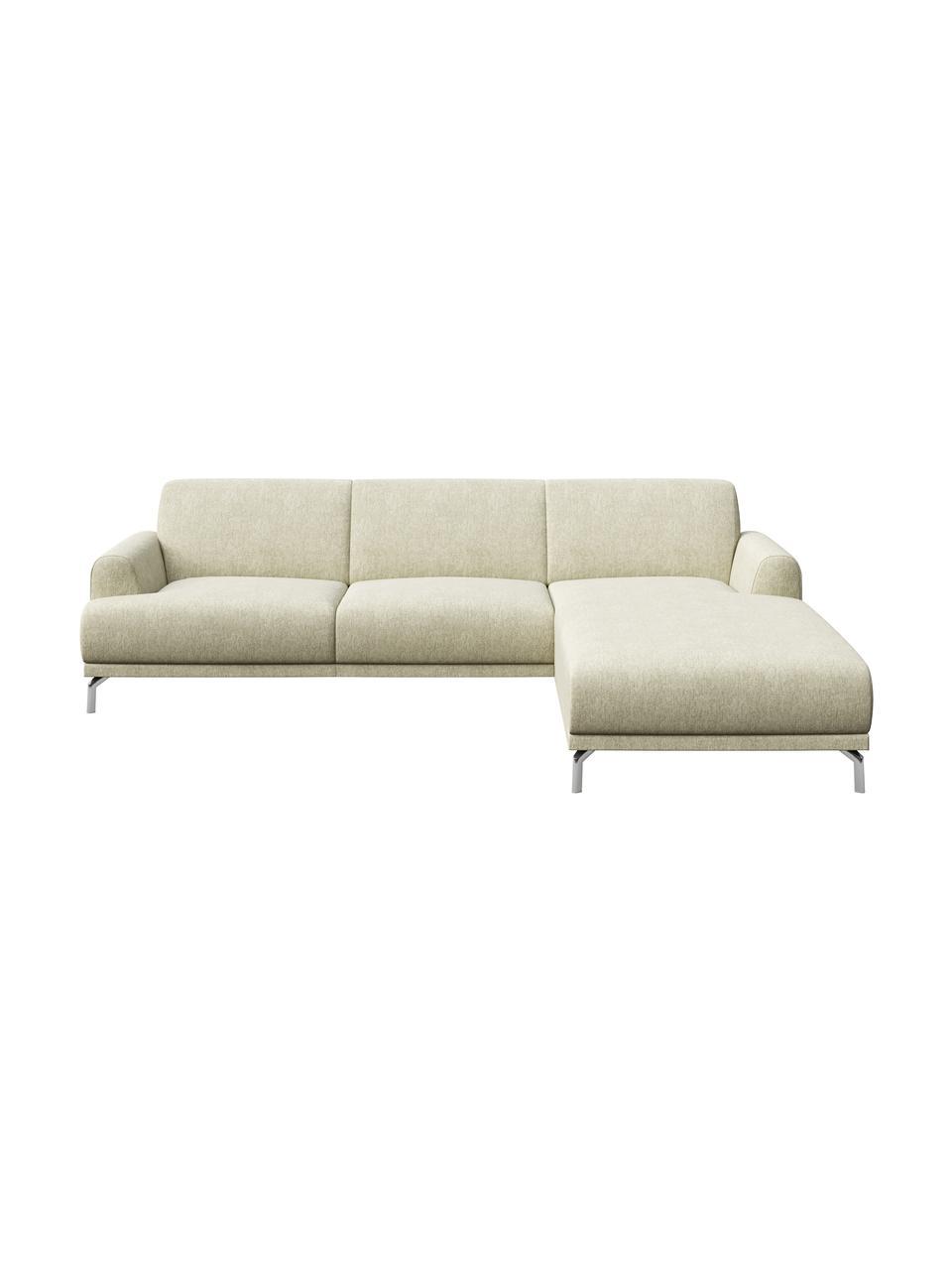 Sofa narożna Puzo, Tapicerka: 100% poliester, Nogi: metal lakierowany, Jasny beżowy, S 240 x G 165 cm