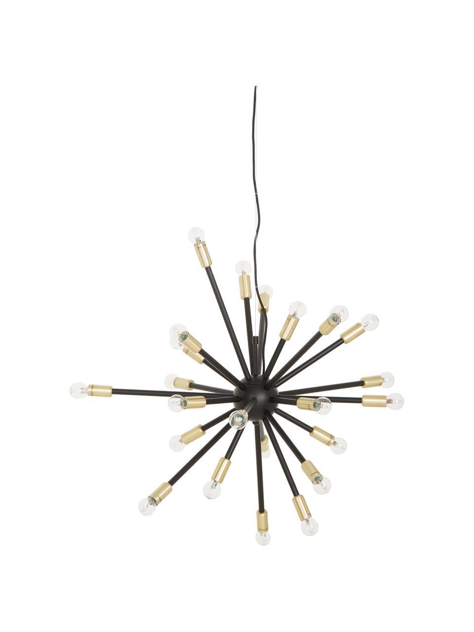 Grote hanglamp Spike in zwart-goudkleur, Baldakijn: gecoat metaal, Lampenkap: gecoat metaal, Fitting: geborsteld metaal, Zwart, goudkleurig, Ø 90 cm