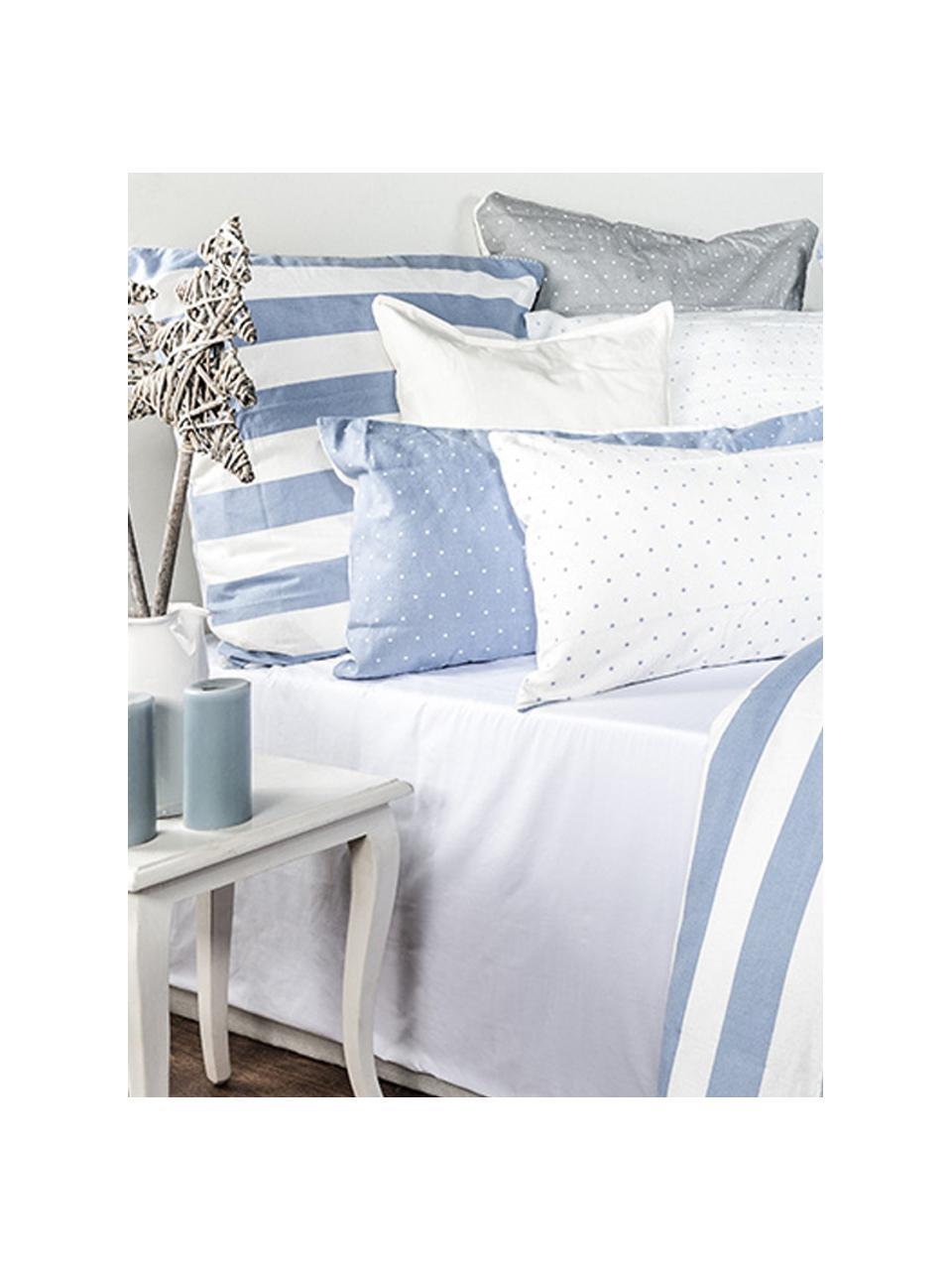 Flanell-Wendebettwäsche Dora, gestreift, Webart: Flanell Flanell ist ein k, Weiß, Hellblau, 135 x 200 cm + 1 Kissen 80 x 80 cm