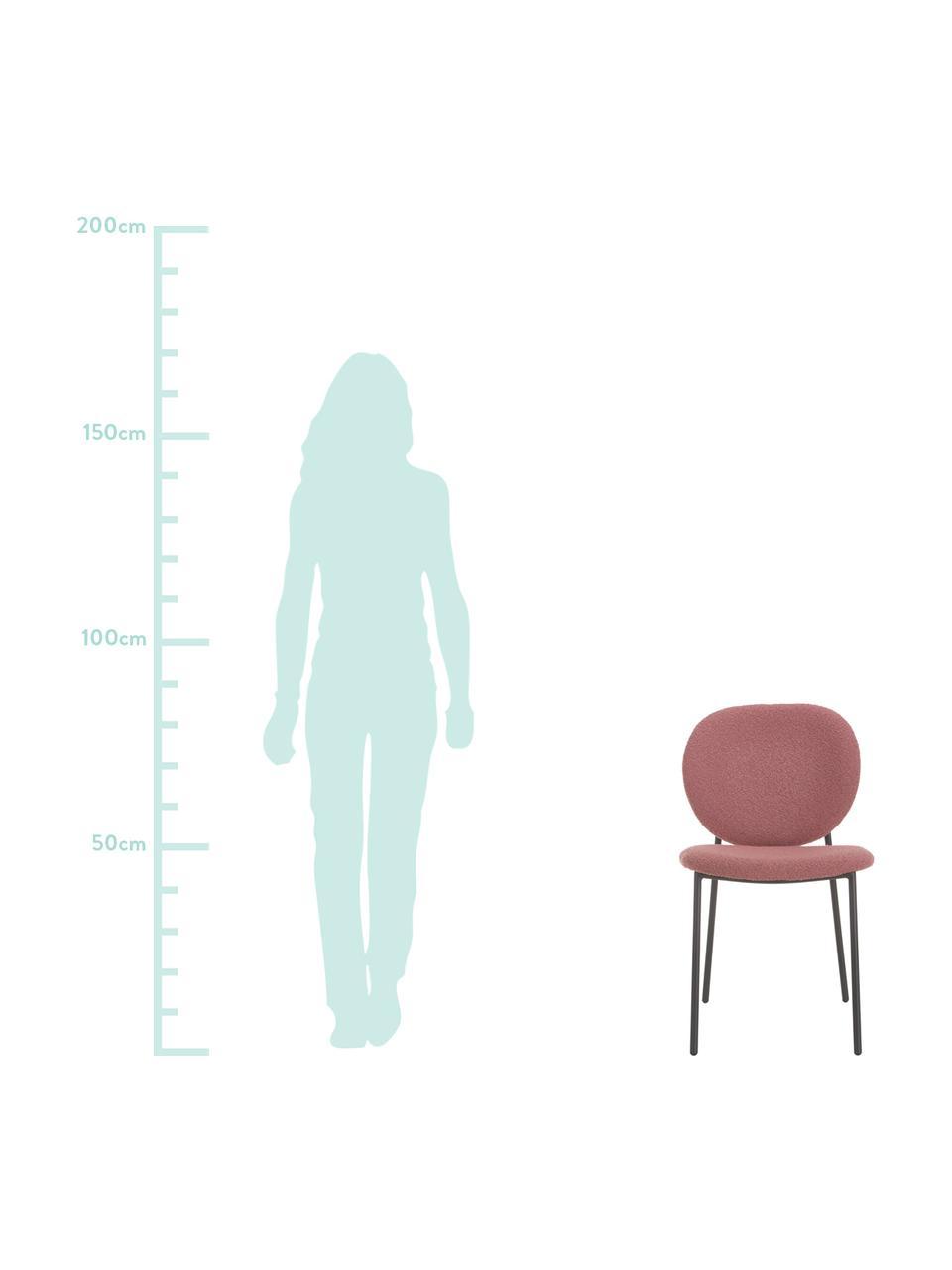 Krzesło tapicerowane bouclé Ulrica, 2 szt., Tapicerka: poliester Dzięki tkaninie, Nogi: metal malowany proszkowo, Blady różowy, S 47 x G 61 cm