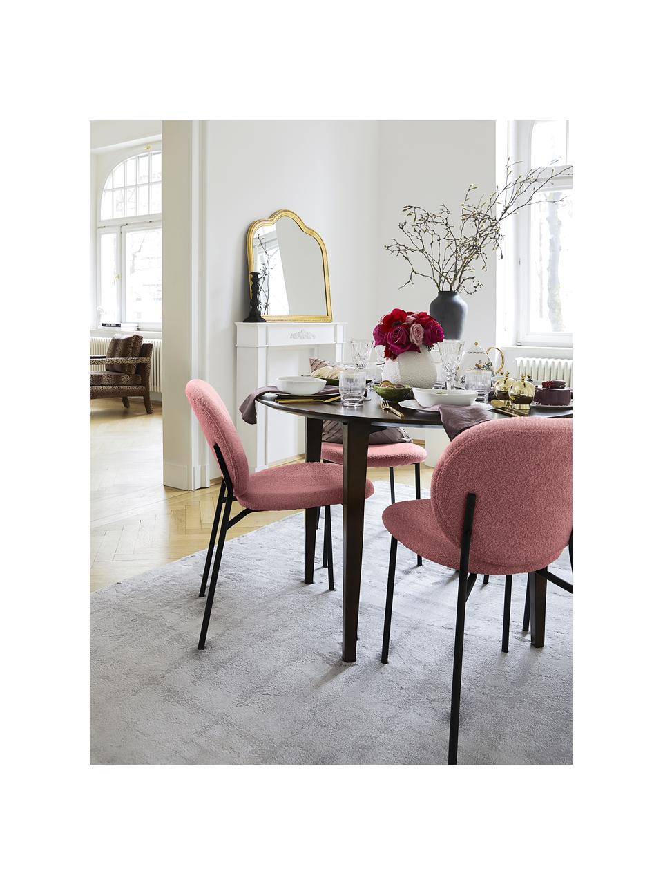 Bouclé-gestoffeerde stoelen Ulrica in roze, 2 stuks, Bekleding: 100% polyester, Poten: gepoedercoat metaalkleuri, Roze, 47 x 61 cm