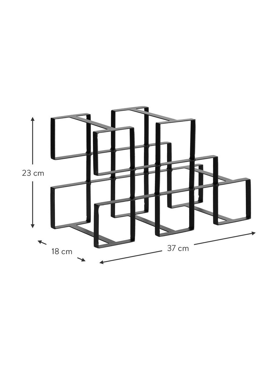 Weinregal Edur in Schwarz für 5 Flaschen, Metall, beschichtet, Schwarz, 37 x 23 cm
