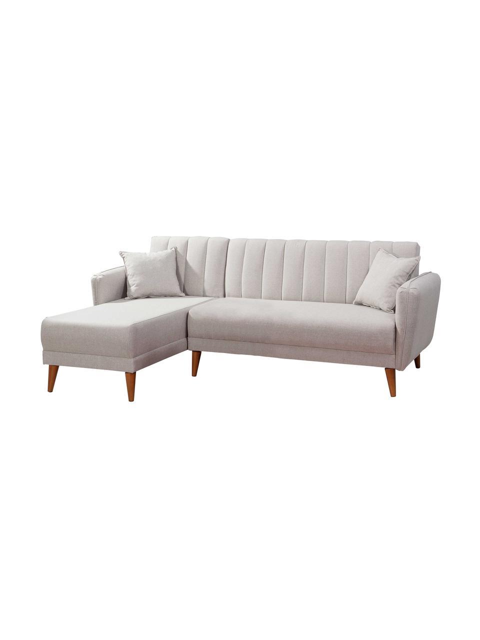 Leinen-Ecksofa Aqua (3-Sitzer) mit Schlaffunktion, Bezug: Leinen, Gestell: Hornbaumholz, Metall, Füße: Holz, Beige, B 225 x T 145 cm