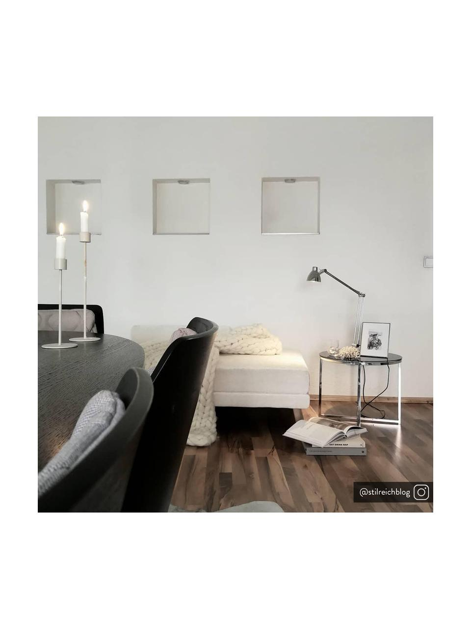 Tavolino rotondo con piano in vetro nero Cross, Gambe: metallo cromato, Nero, metallo cromato, Ø 55 x Alt. 45 cm