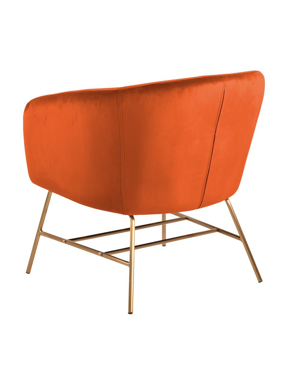 Moderner Samt-Cocktailsessel Ramsey in Kupferfarben, Bezug: Polyestersamt Der hochwer, Beine: Metall, lackiert, Samt Kupferfarben, B 72 x T 67 cm