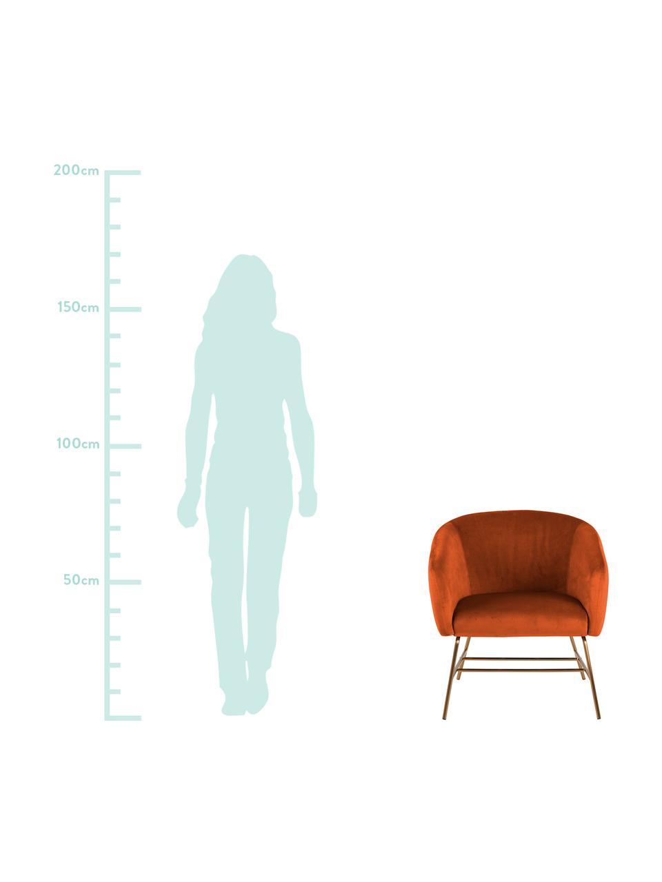 Moderne fluwelen fauteuil Ramsey in koperkleur, Bekleding: polyester fluweel, Poten: gelakt metaal, Fluweel koperkleurig, B 72 x D 67 cm