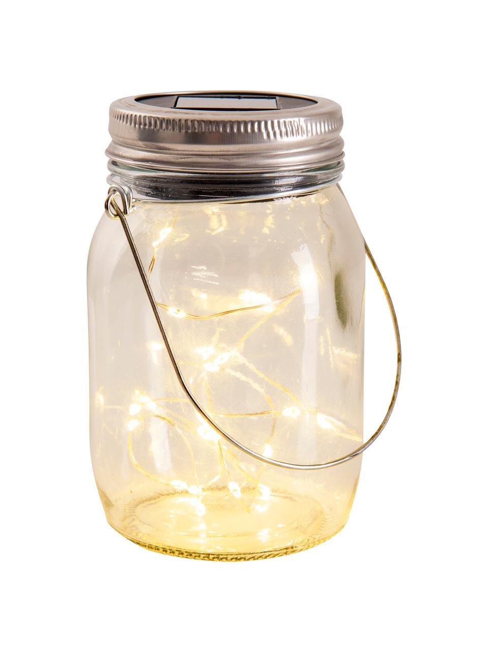 Solar Außentischlampe Nanay, 3 Stück, Lampenschirm: Glas, Deckel: Kunststoff, Griff: Metall, Transparent, Silberfarben, Ø 8 cm