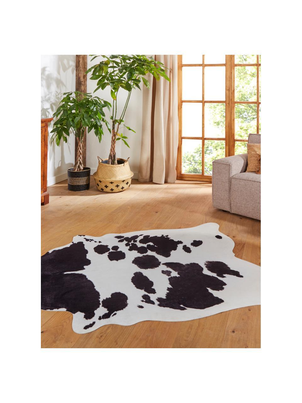 Kuhfell-Teppich Wilbur aus Kunstfell, Cremefarben, Schwarz, 155 x 190 cm