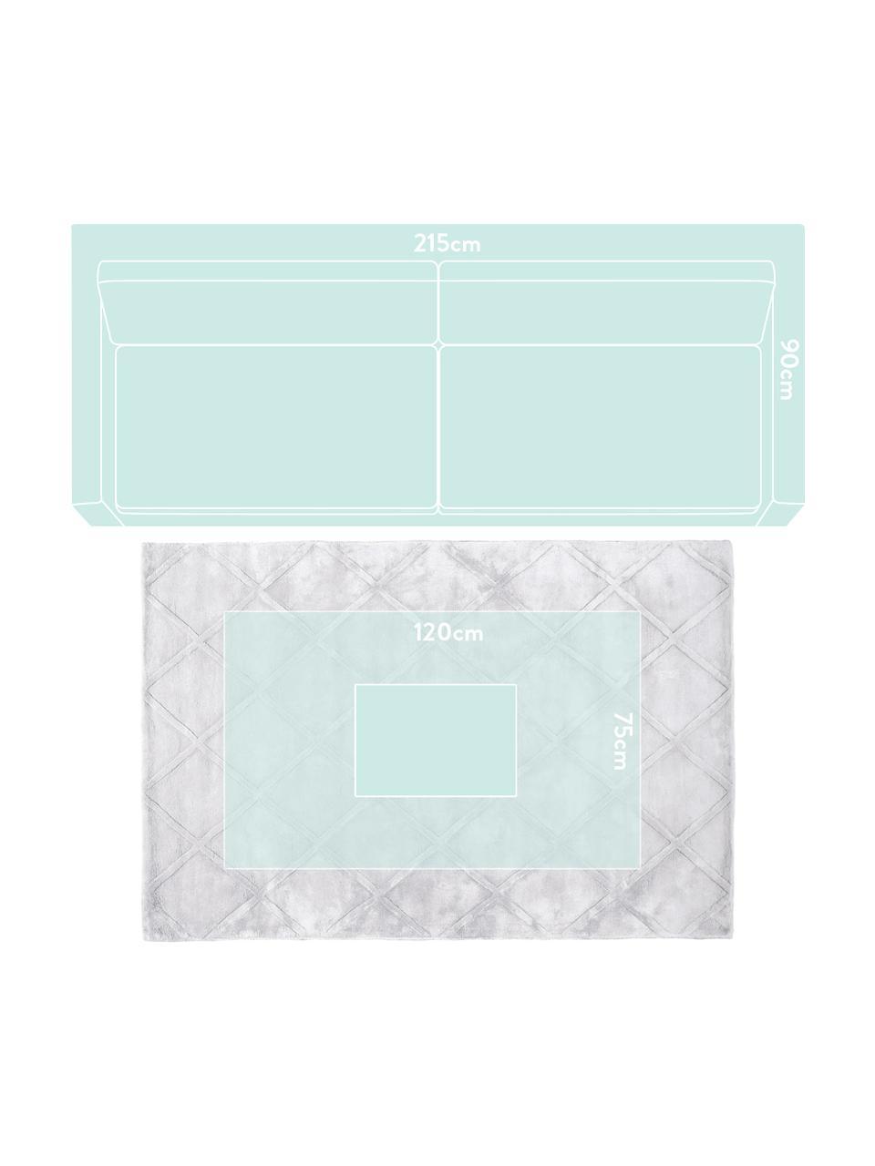Tappeto in viscosa taftato a mano Madeleine, Retro: 100% cotone, Grigio chiaro argentato, Larg. 120 x Lung. 180 cm (taglia S)