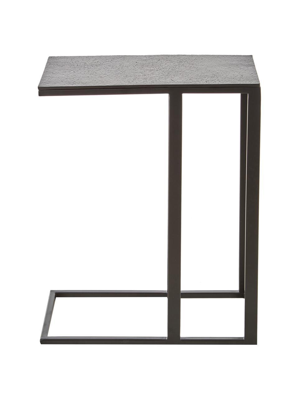 Bijzettafel Edge in industrieel ontwerp, Tafelblad: gecoat metaal, Frame: gepoedercoat metaal, Tafelblad: zwart. Frame: mat zwart, 45 x 62 cm