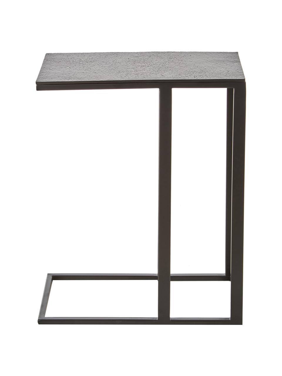 Stolik pomocniczy w stylu industrialnym Edge, Blat: metal powlekany, Stelaż: metal malowany proszkowo, Blat: czarny Stelaż: czarny, matowy, S 45 x W 62 cm