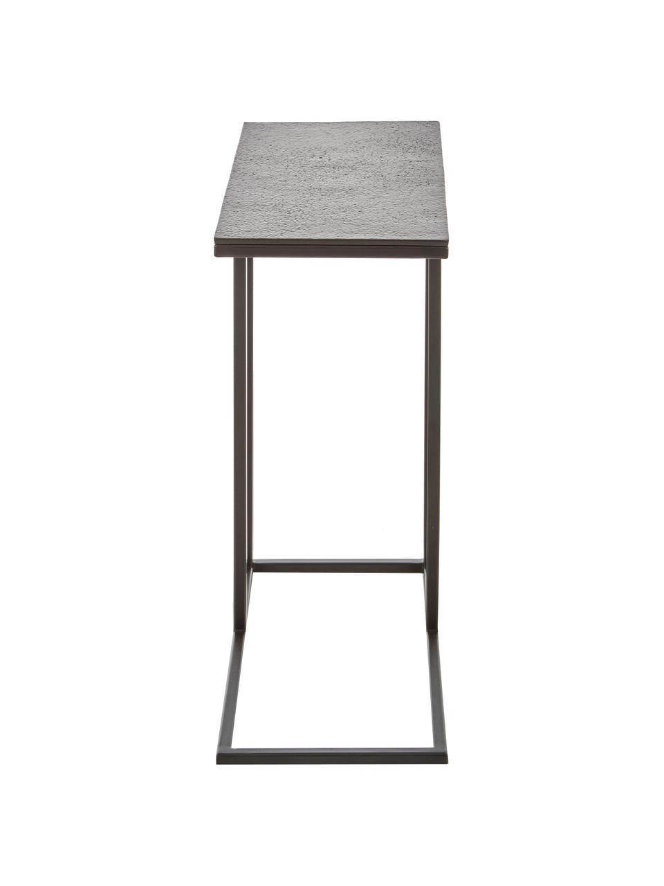 Tavolino industrial in metallo Edge, Struttura: metallo verniciato a polv, Piano: nero Struttura: nero opaco, Larg. 43 x Alt. 52 cm