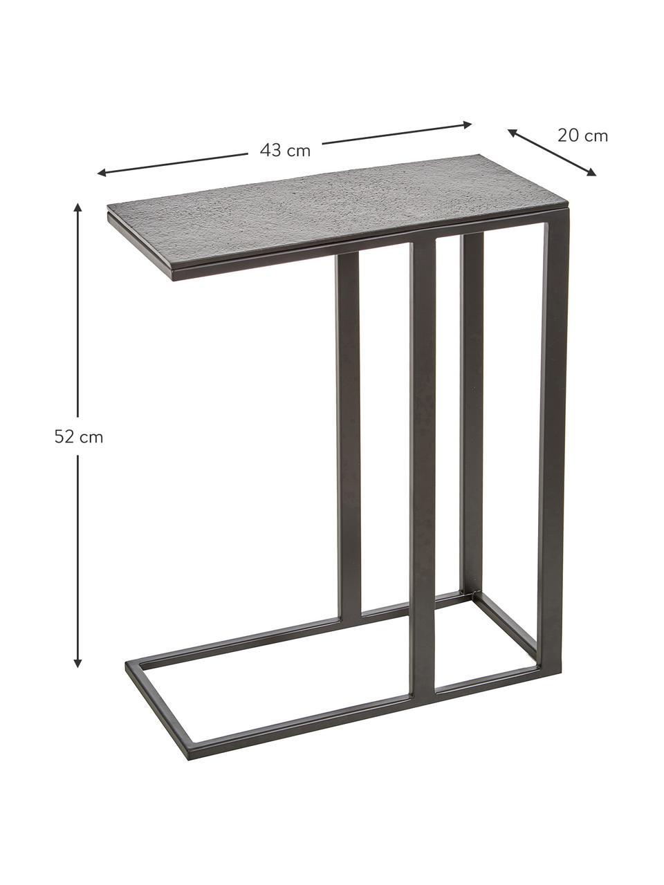 Beistelltisch Edge im Industrial Design, Tischplatte: Metall, beschichtet, Gestell: Metall, pulverbeschichtet, Tischplatte: Schwarz Gestell: Schwarz, matt, 45 x 62 cm