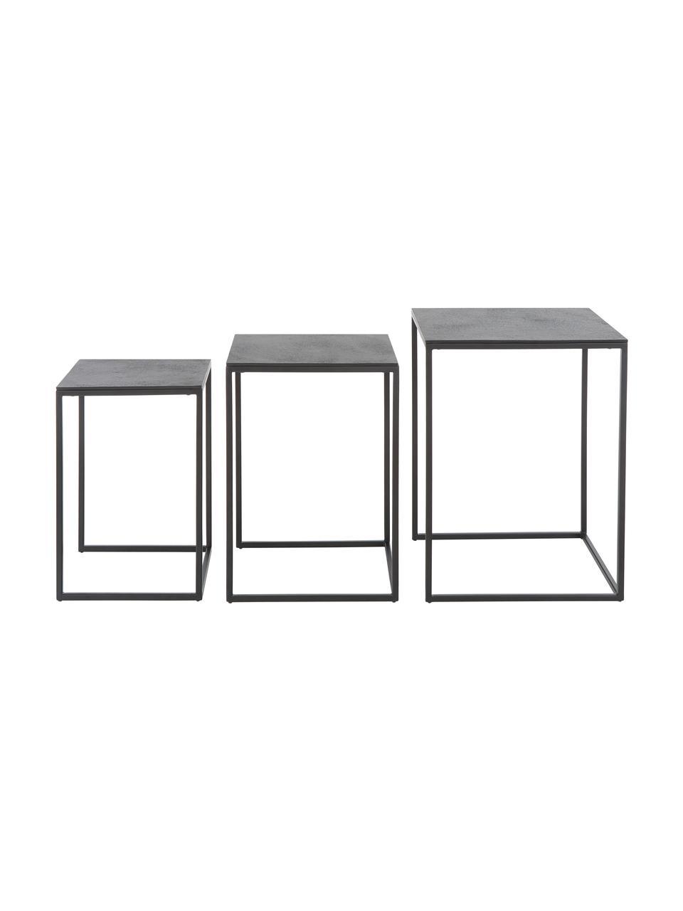 Set 3 tavolini in metallo Dwayne, Ripiani: alluminio rivestito, Struttura: metallo verniciato, Nero con finitura antica, Set in varie misure