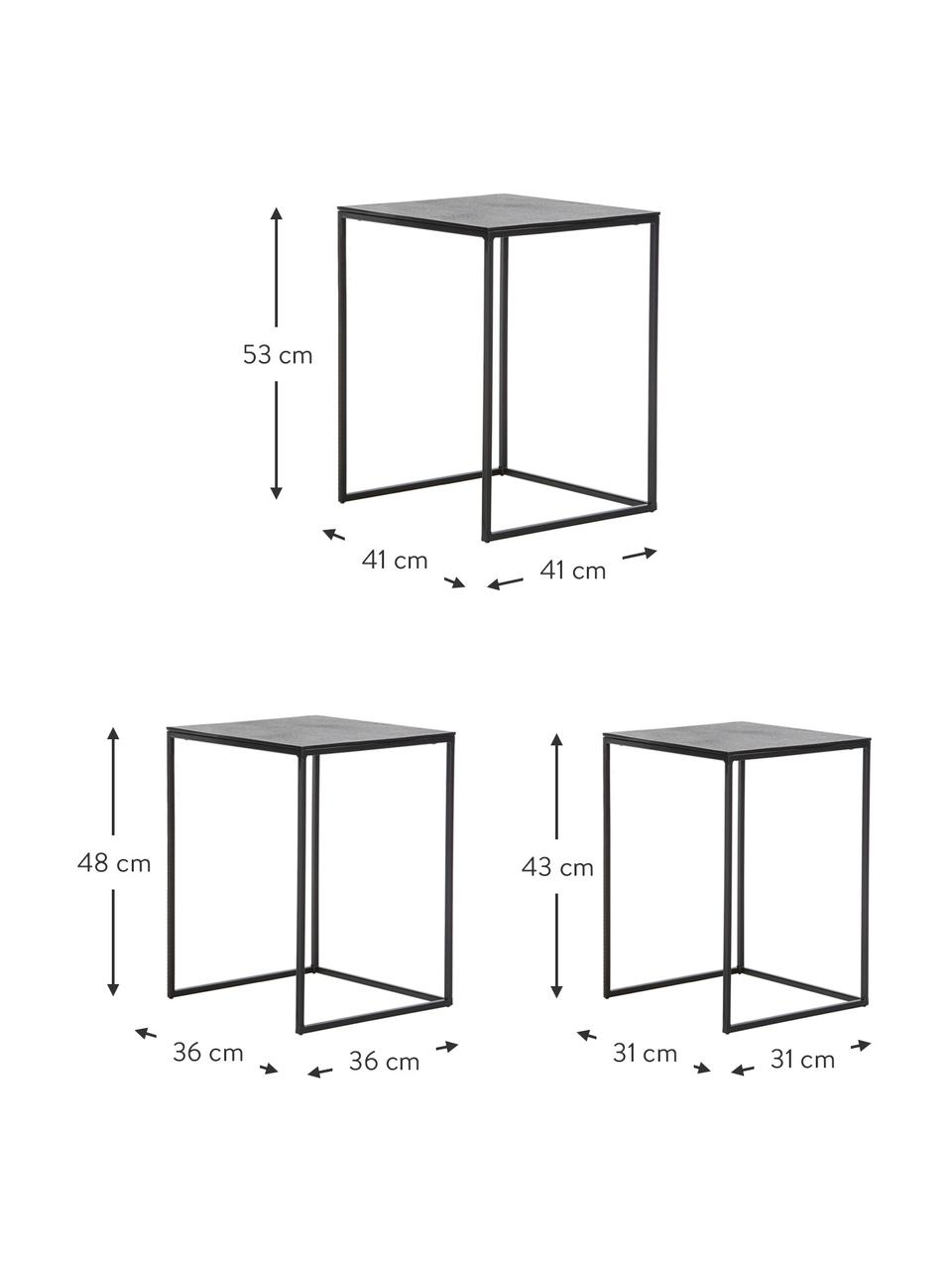 Metalen bijzettafelsset Dwayne, 3-delig, Frame: gelakt metaal, Zwart met antieke finish, Set met verschillende formaten
