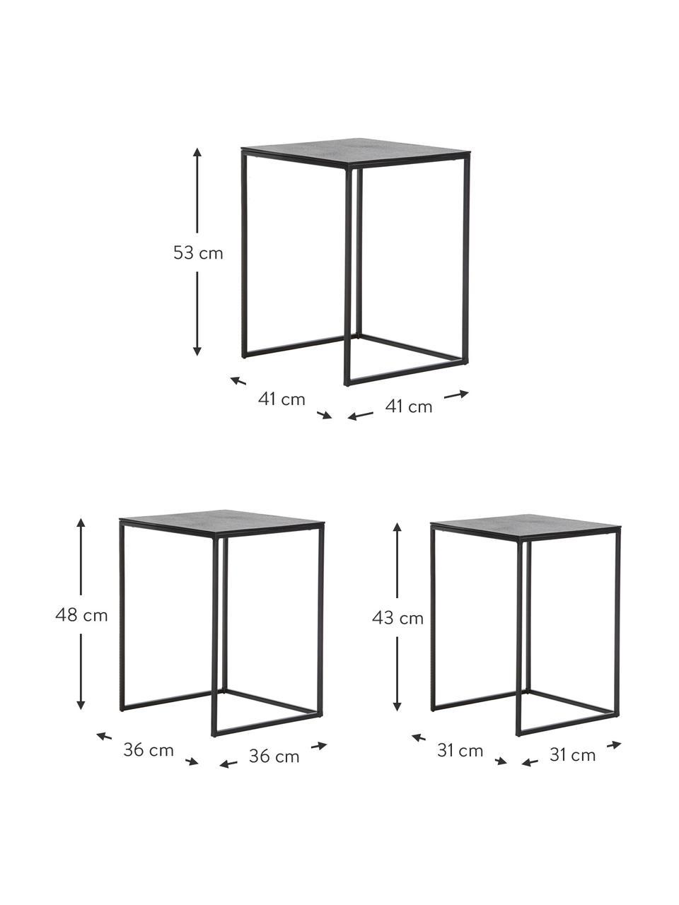 Metall Beistelltisch 3er-Set Dwayne, Schwarz mit Antik-Finish, Sondergrößen