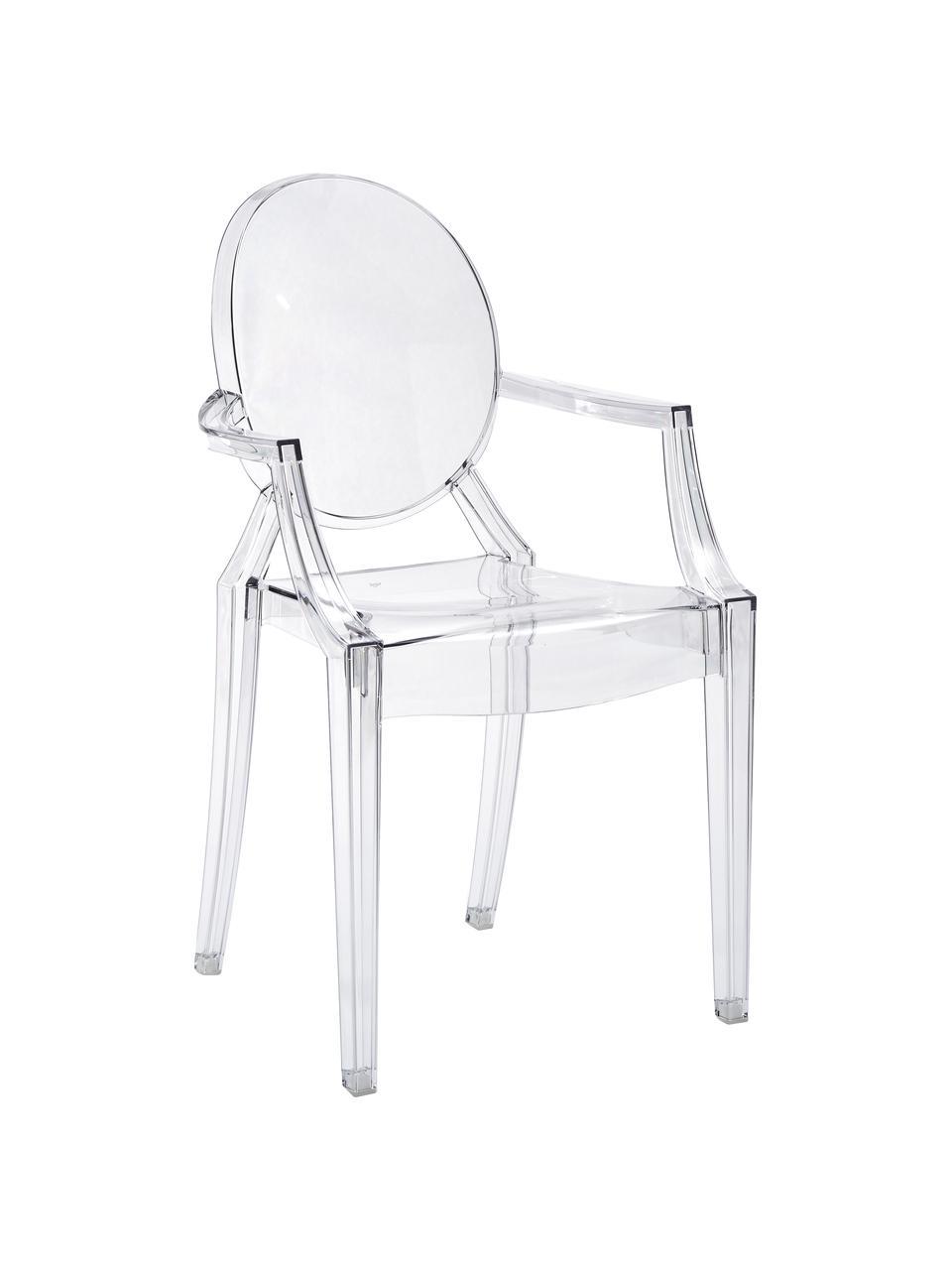 Chaise transparente en plastique Louis Ghost, Transparent