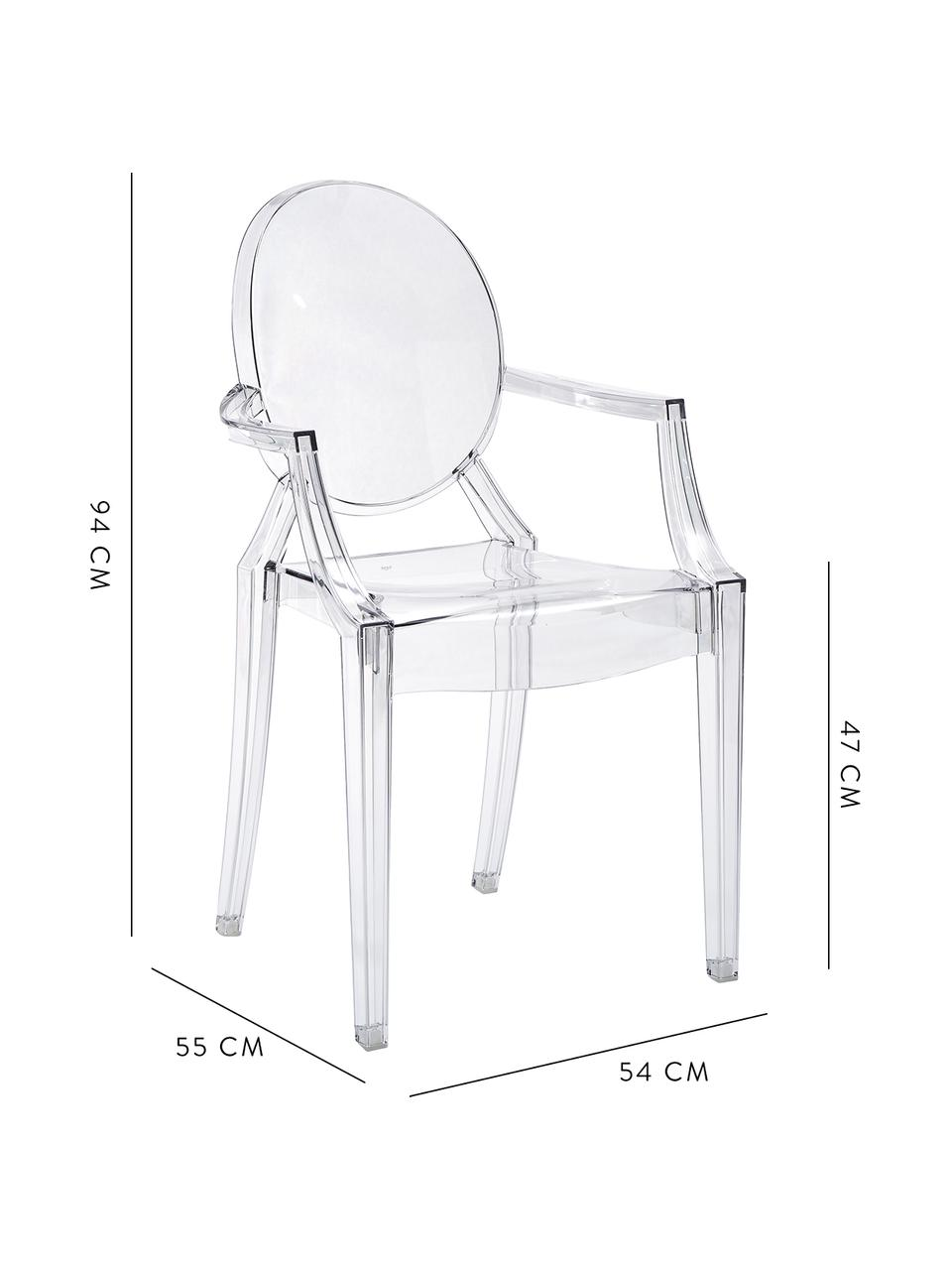Sedia trasparente con braccioli  Louis Ghost, Policarbonato, Trasparente, Larg. 54 x Prof. 55 cm
