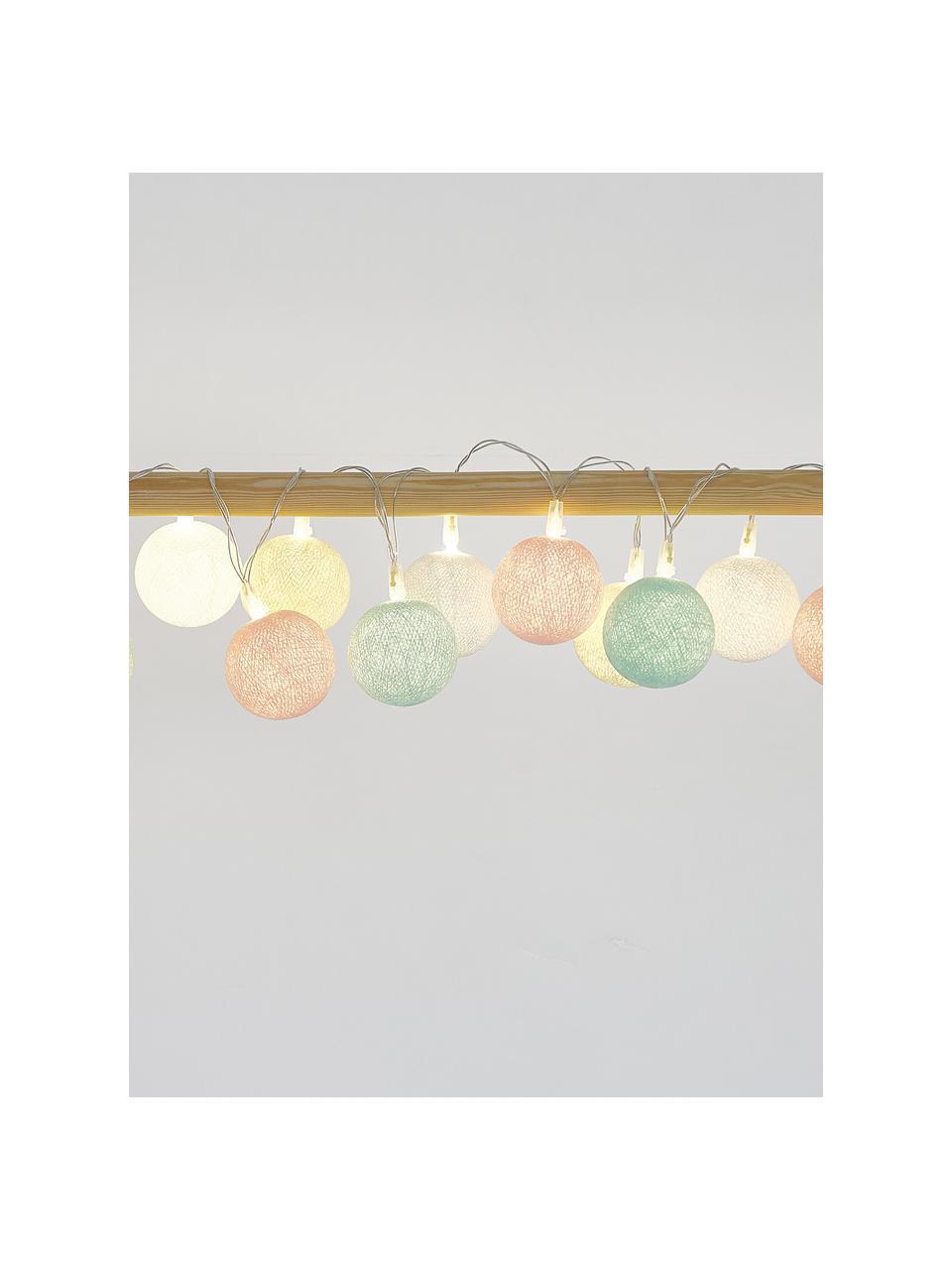 LED-Lichterkette Colorain, 378 cm, 20 Lampions, Weiß, Creme, Puderrosa, Hellblau, L 378 cm