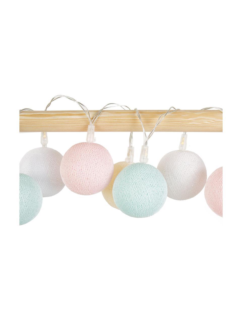 Ghirlanda a LED Colorain, 378 cm, 20 lampioni, Bianco, crema, rosa cipria, azzurro, Lung. 378 cm
