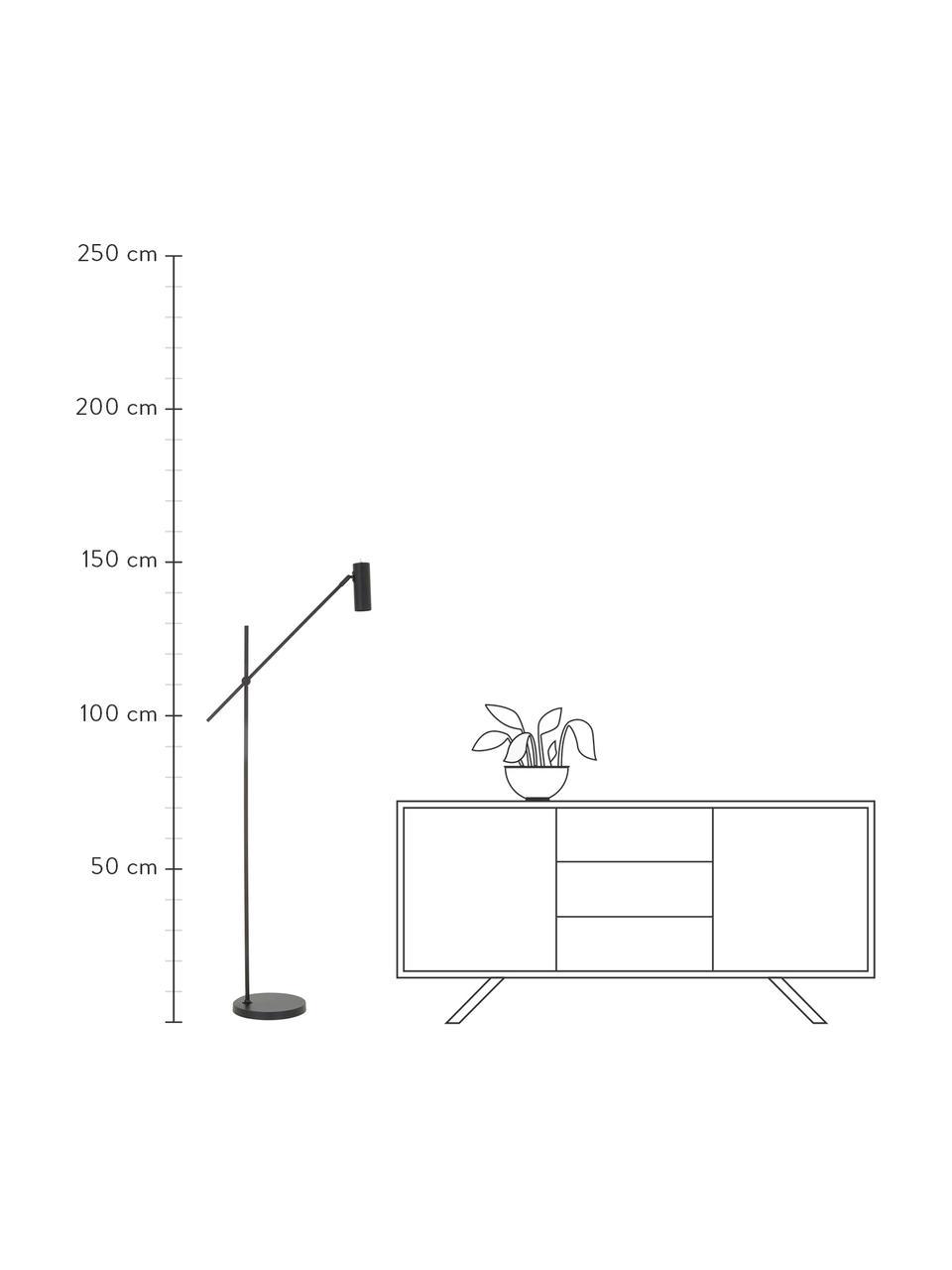 Lampa do czytania z metalu Cassandra, Klosz: czarny, matowy Podstawa lampy: czarny, matowy Kabel: czarny, S 75 x W 152 cm