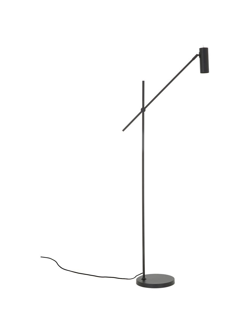 Moderne leeslamp Cassandra van metaal, Lampenkap: gepoedercoat metaal, Lampvoet: gepoedercoat metaal, Lampenkap: mat zwart. Lampvoet: mat zwart. Snoer: zwart, 75 x 152 cm
