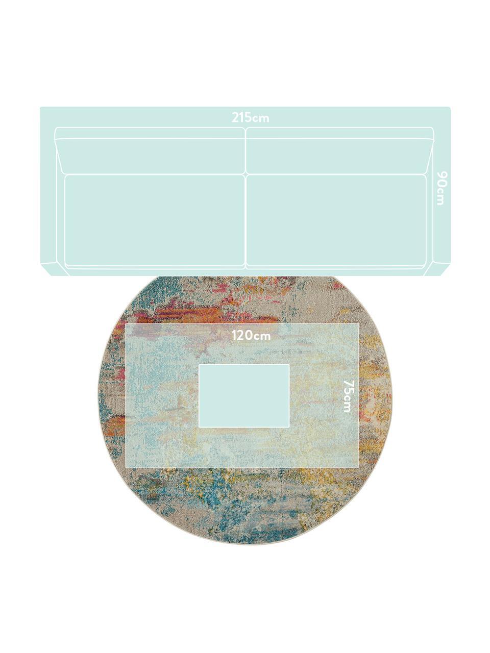 Runder Designteppich Celestial in Bunt, Flor: 100% Polypropylen, Mehrfarbig, Ø 160 cm (Größe L)