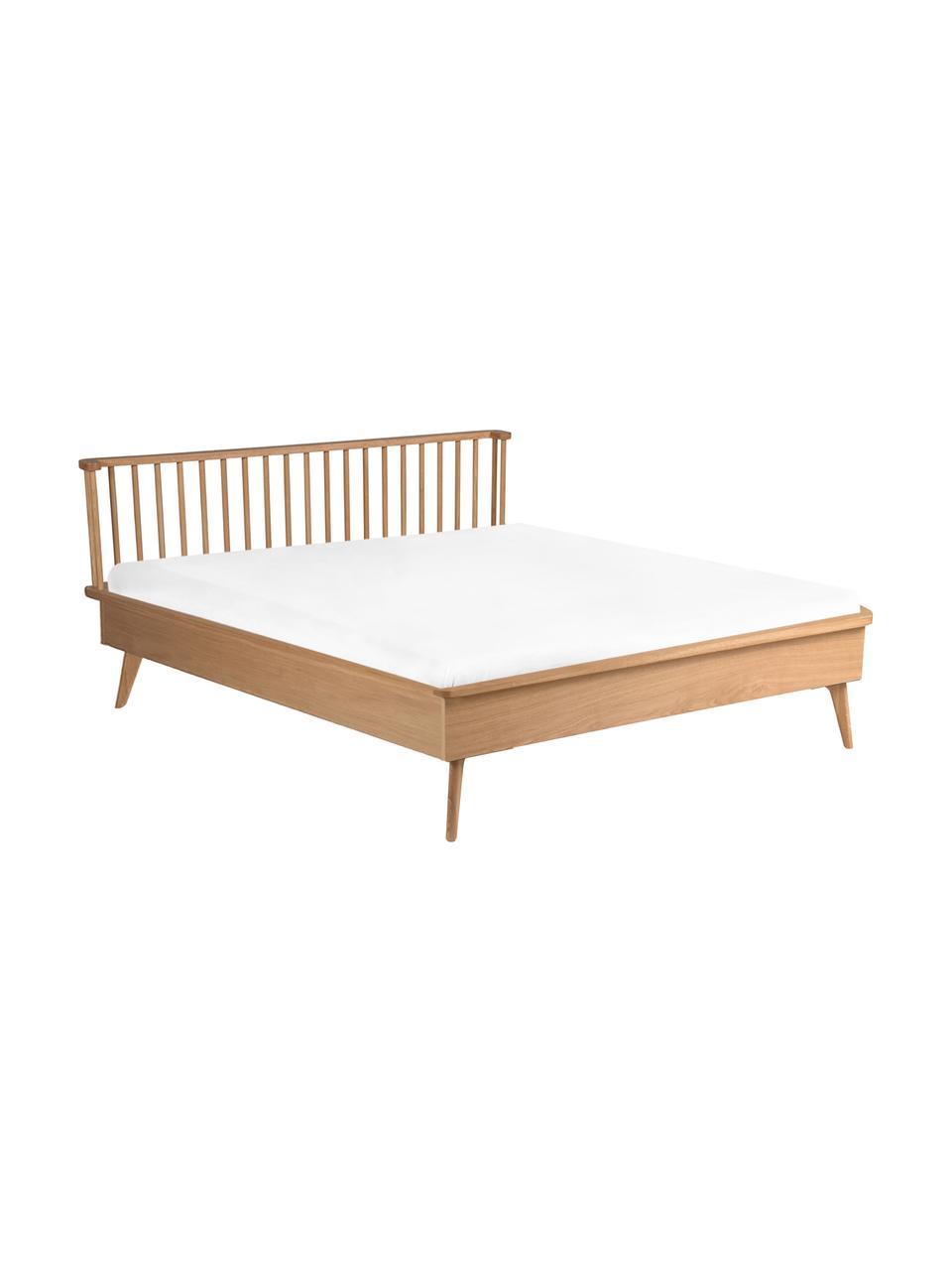 Łóżko z drewna Wild, Płyta pilśniowa (MDF), fornir z drewna dębowego, Drewno dębowe, S 160 x D 200 cm