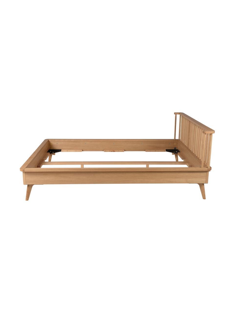 Letto in legno Wild, Pannello di fibra a media densità (MDF) con finitura in legno di quercia, Legno di quercia, 160 x 200 cm