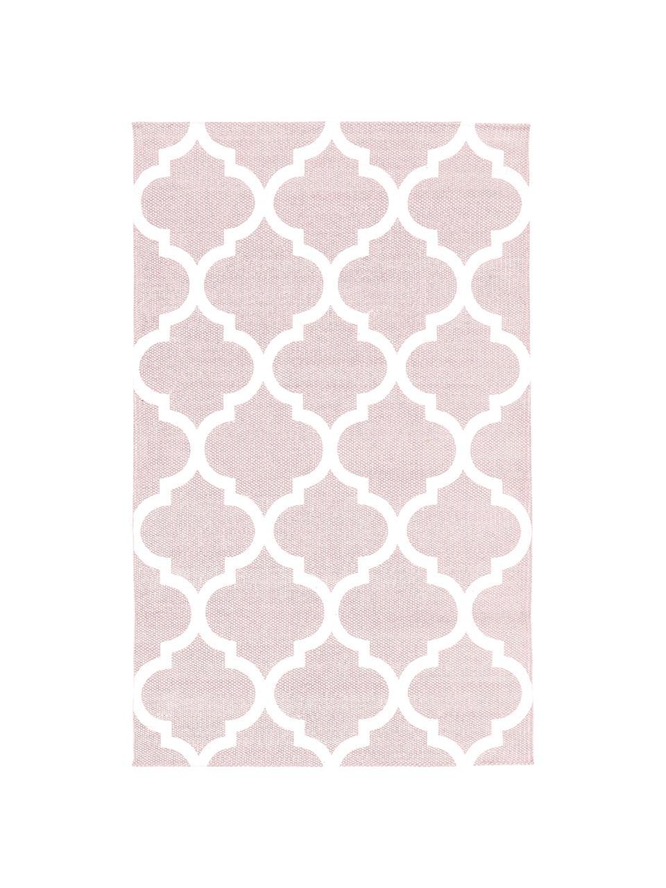 Tappeto sottile in cotone rosa/bianco tessuto a mano Amira, 100% cotone, Rosa, bianco crema, Larg. 200 x Lung. 300 cm (taglia L)