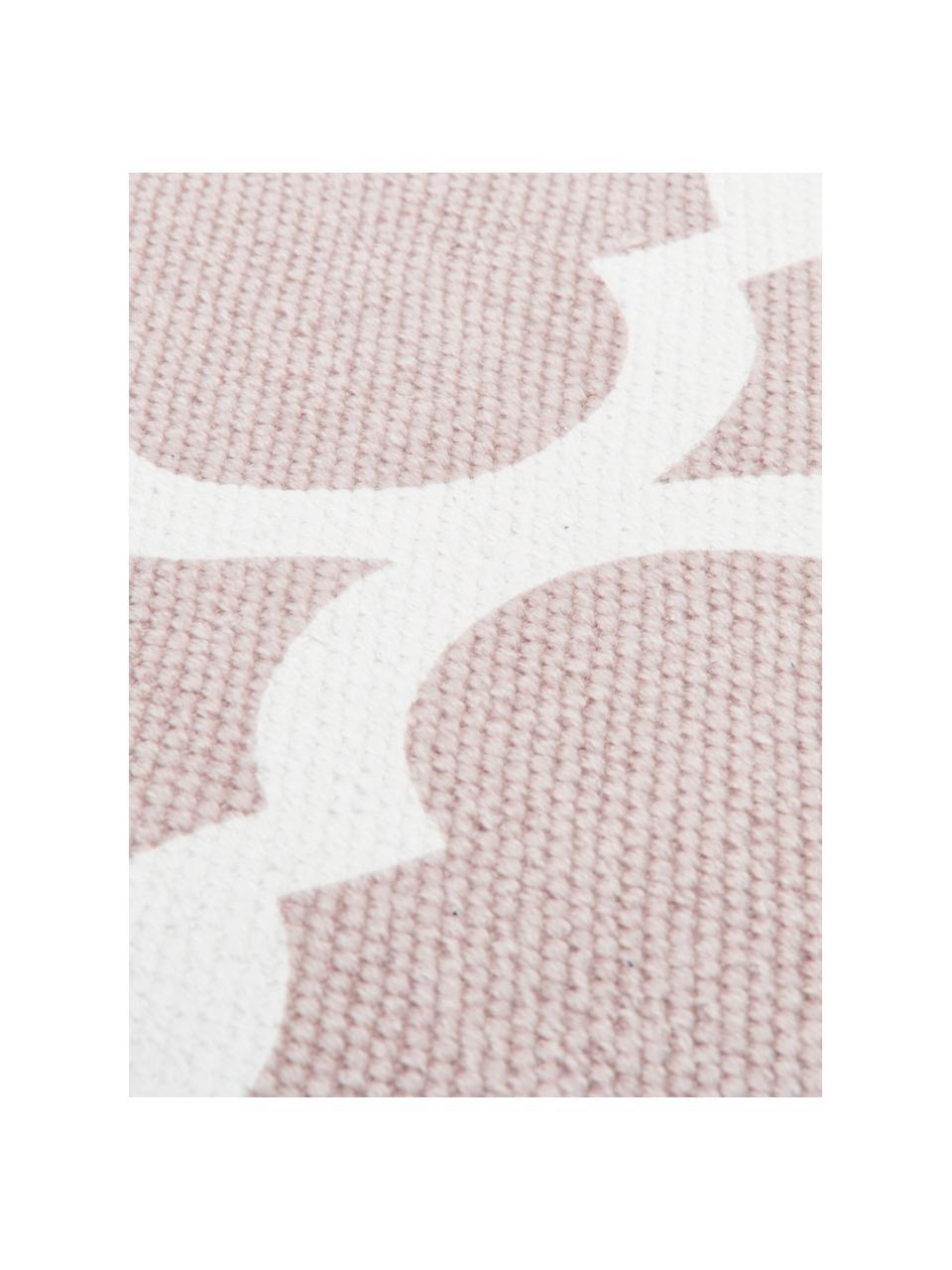 Dun  katoenen vloerkleed Amira in roze/wit, handgeweven, 100% katoen, Roze, crèmewit, B 200 x L 300 cm (maat L)