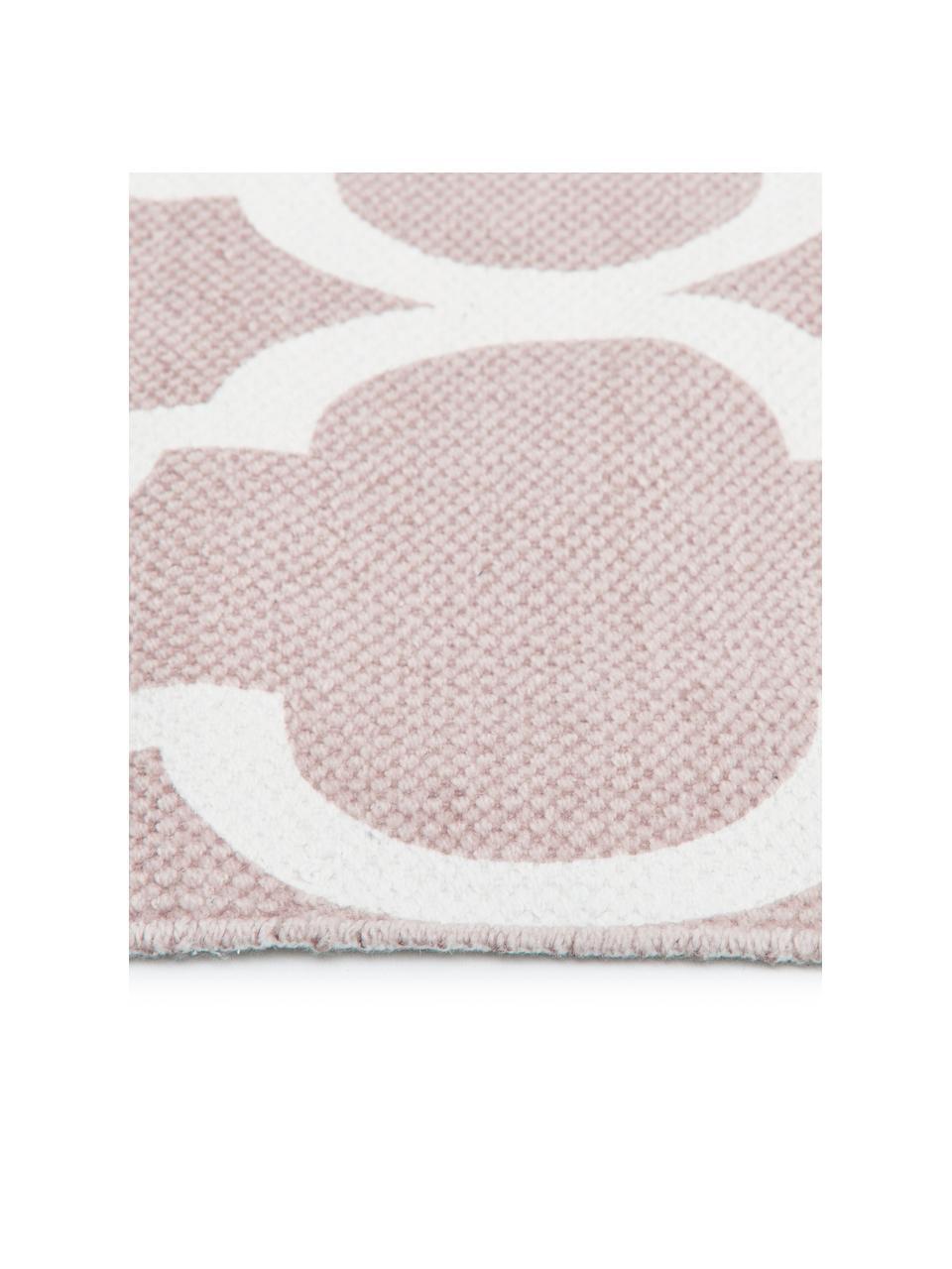 Tenký bavlněný koberec Amira, ručně tkaný, Růžová, krémově bílá