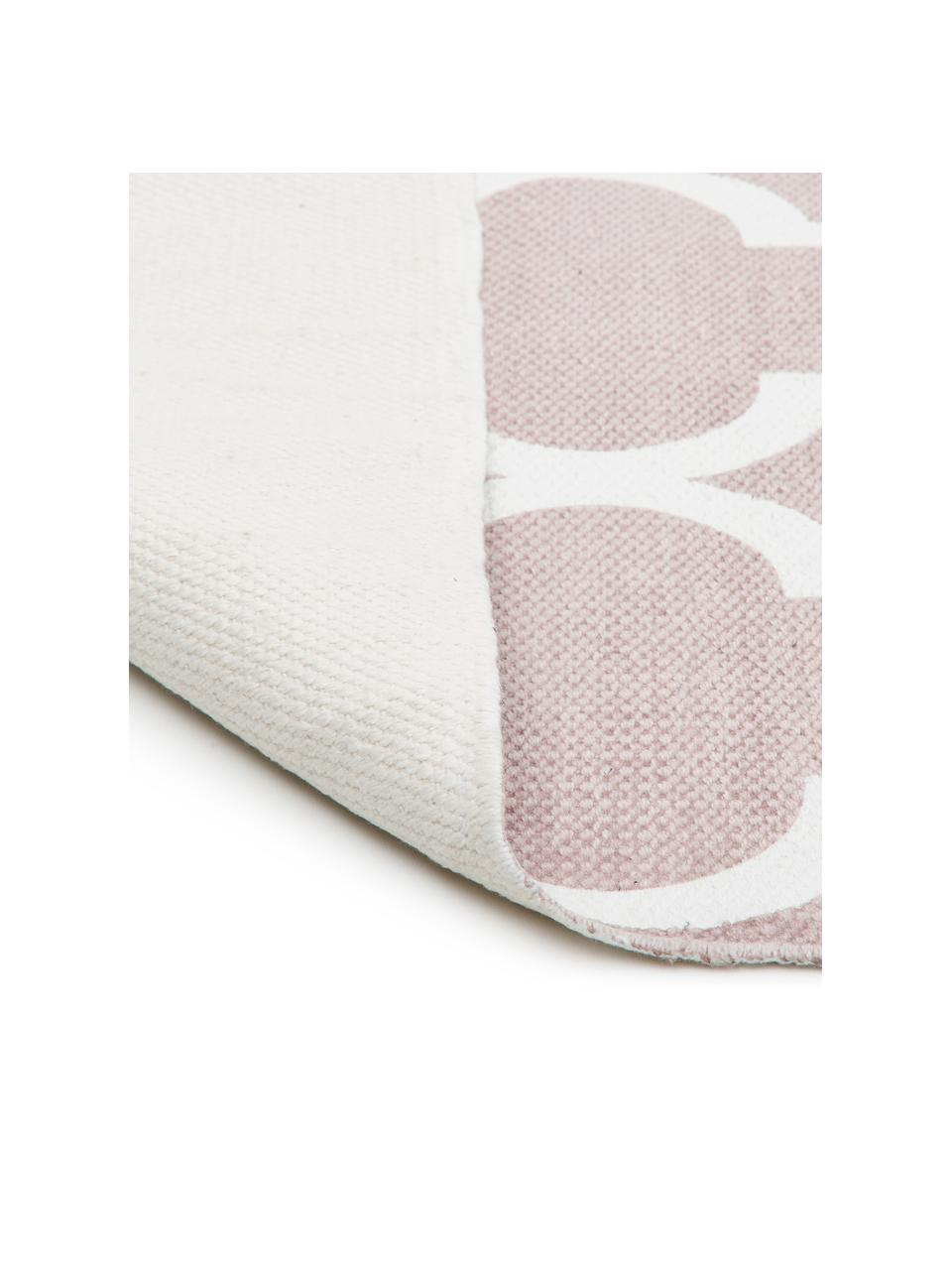 Tapis en coton fin tissé main rose Amira, Rose, blanc crème