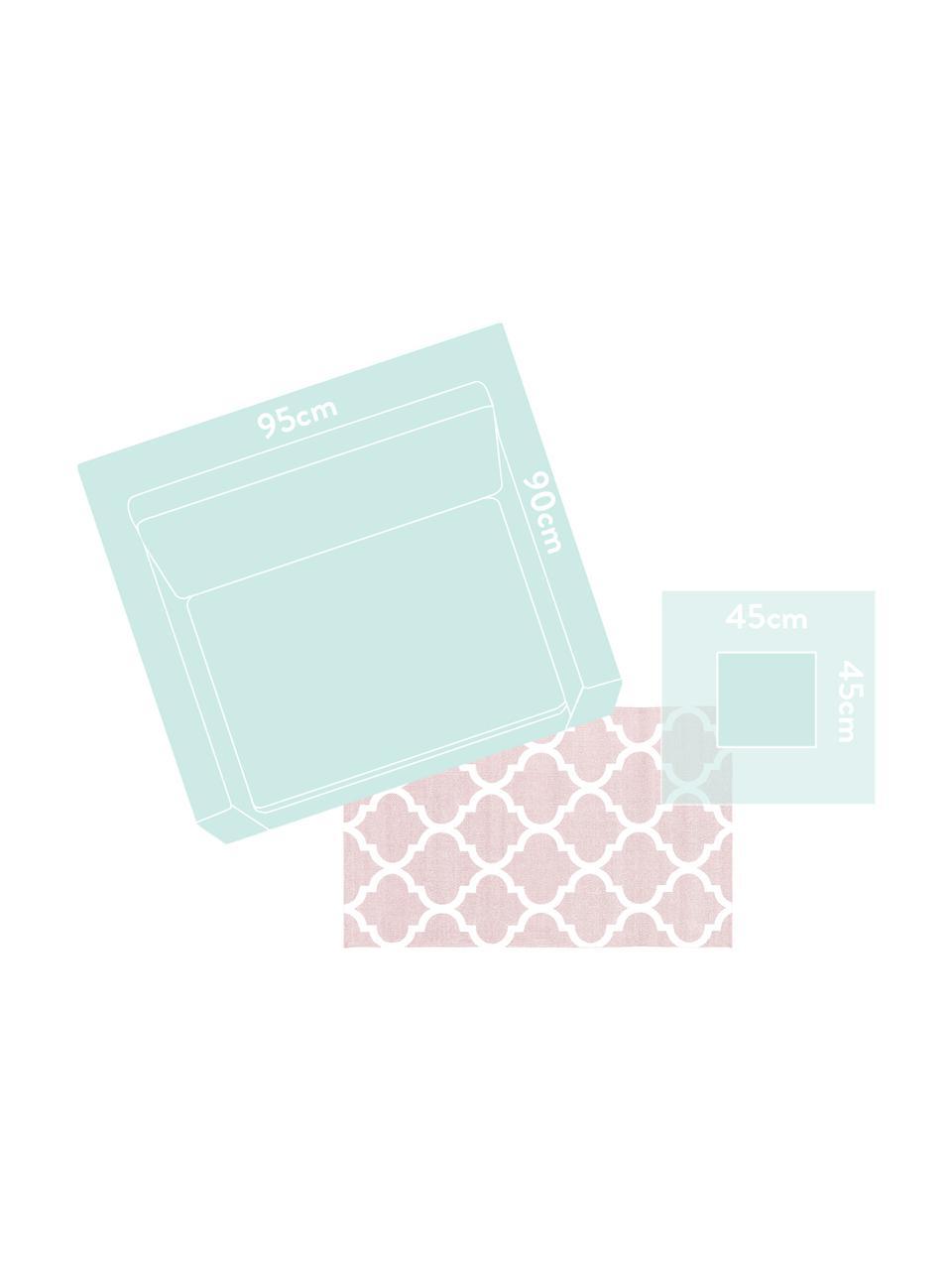 Dun  katoenen vloerkleed Amira in roze/wit, 100% katoen, Roze, crèmewit, B 200 x L 300 cm (maat L)