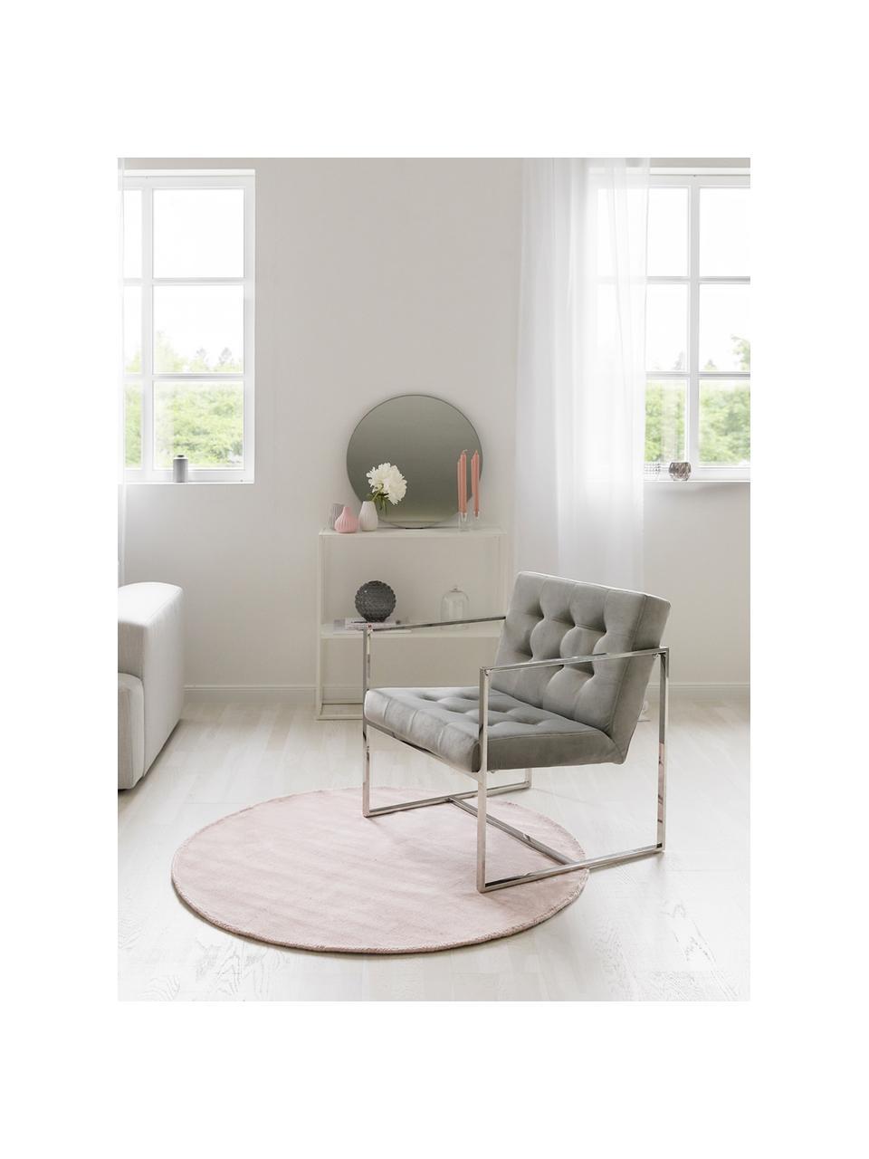 Okrągły ręcznie tkany dywan z wiskozy Jane, Blady różowy, Ø 200 cm (Rozmiar L)