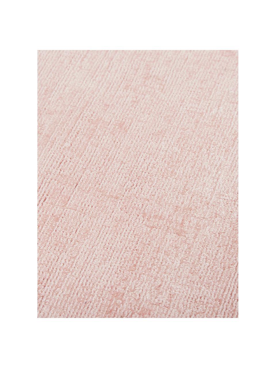 Tappeto rotondo in viscosa rosa tessuto a mano Jane, Retro: 100% cotone, Rosa, Ø 200 cm (taglia L)