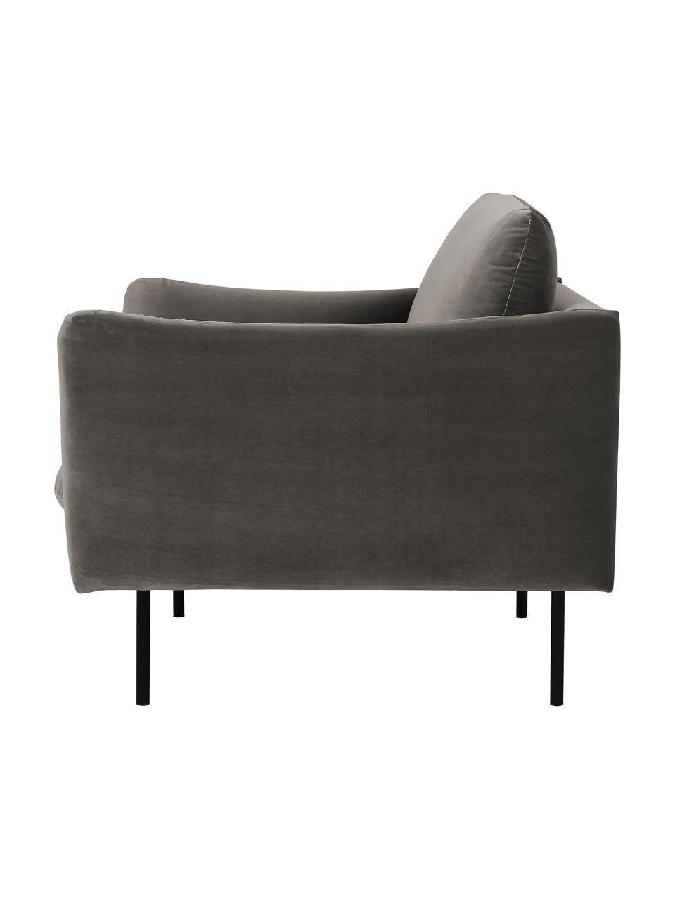 Fotel z aksamitu z metalowymi nogami Moby, Tapicerka: aksamit (wysokiej jakości, Stelaż: lite drewno sosnowe, Nogi: metal malowany proszkowo, Aksamitny szarobrązowy, S 90 x G 90 cm