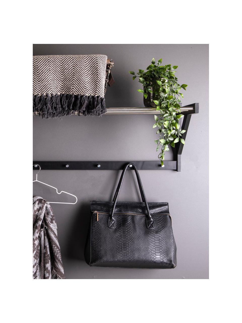 Wandkapstok Padova van metaal en hout, Frame: populierenhout, Stang: staal, Zwart, staalkleurig, 78 x 34 cm
