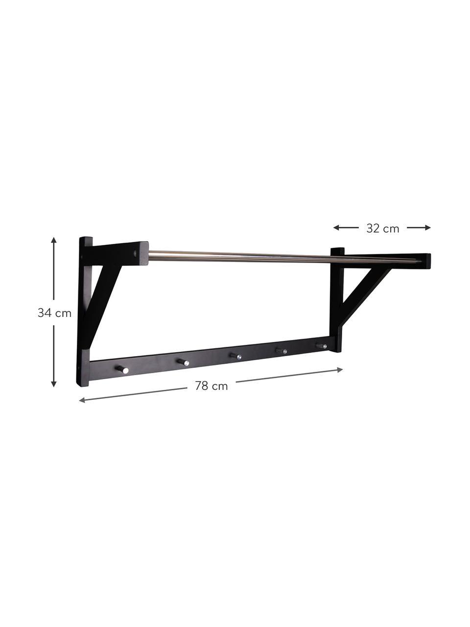 Wandgarderobe Padova aus Metall und Holz, Gestell: Pappelholz, Stangen: Stahl, Schwarz, Stahl, 78 x 34 cm