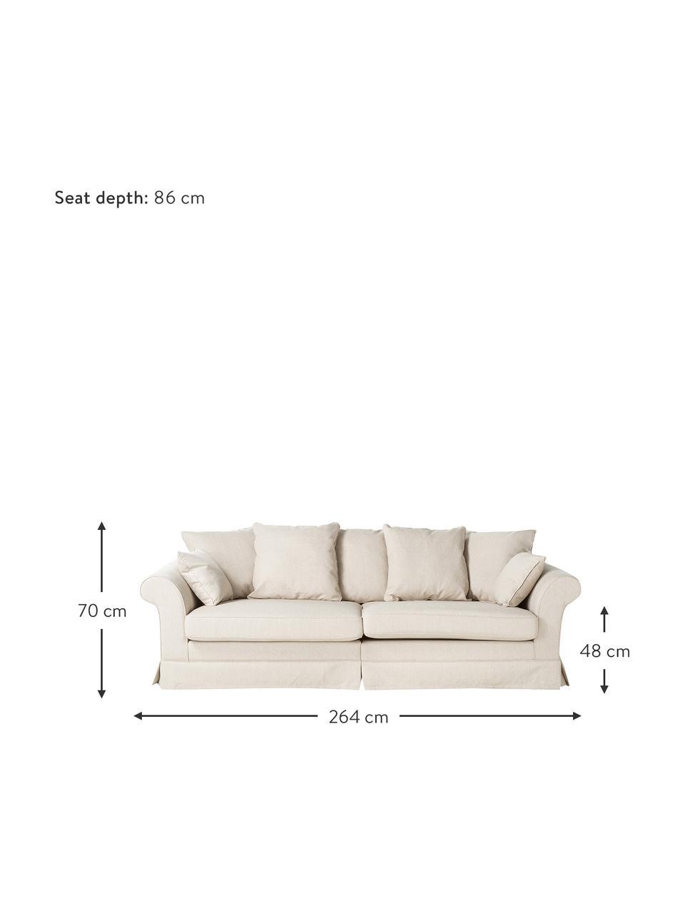 Hussen-Sofa Nobis in Creme, Bezug: Polyester, Webstoff Creme, B 264 cm