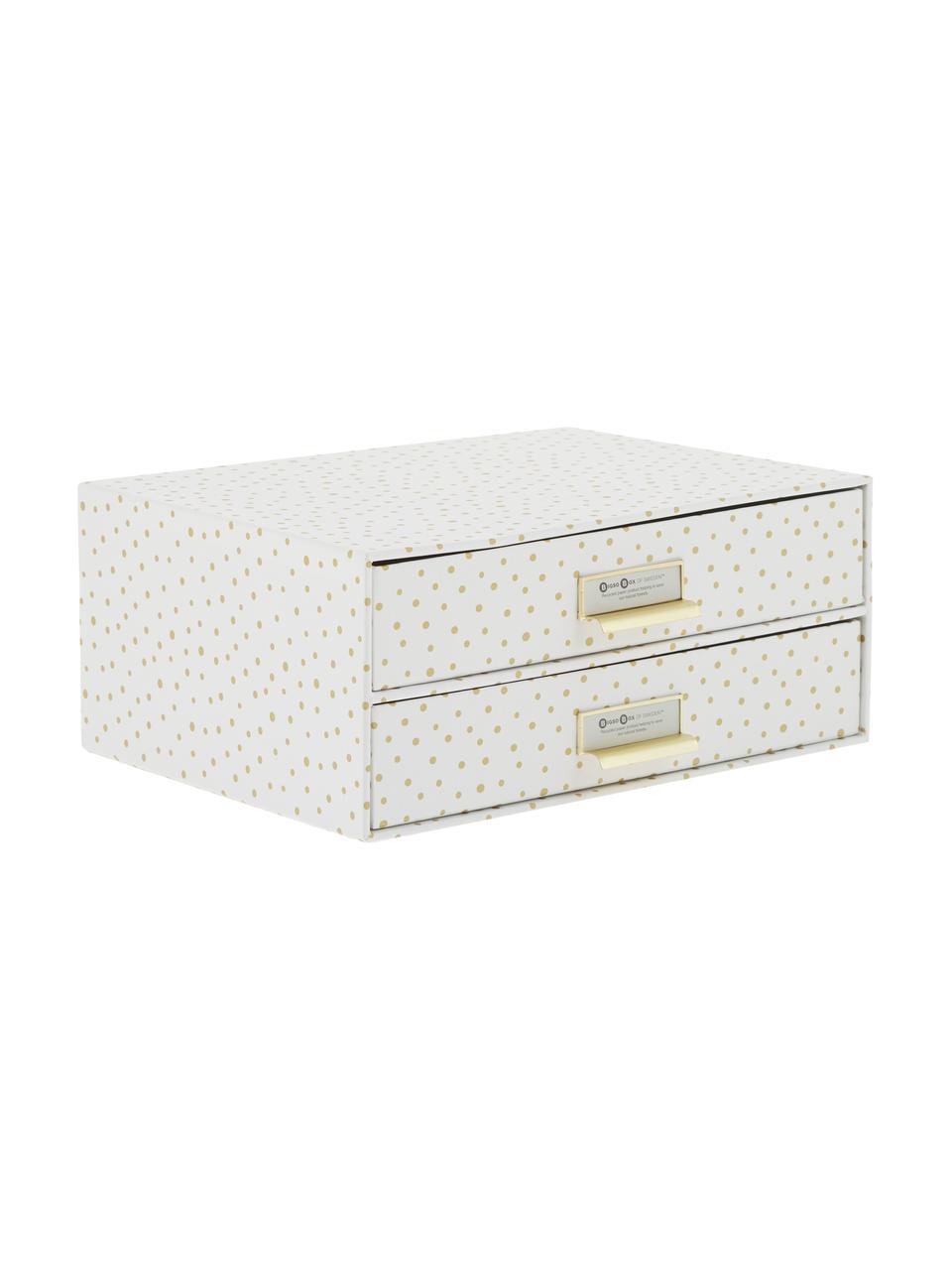Organizer da ufficio Birger, Organizer: solido, cartone laminato, Bianco, dorato, Larg. 33 x Alt. 15 cm