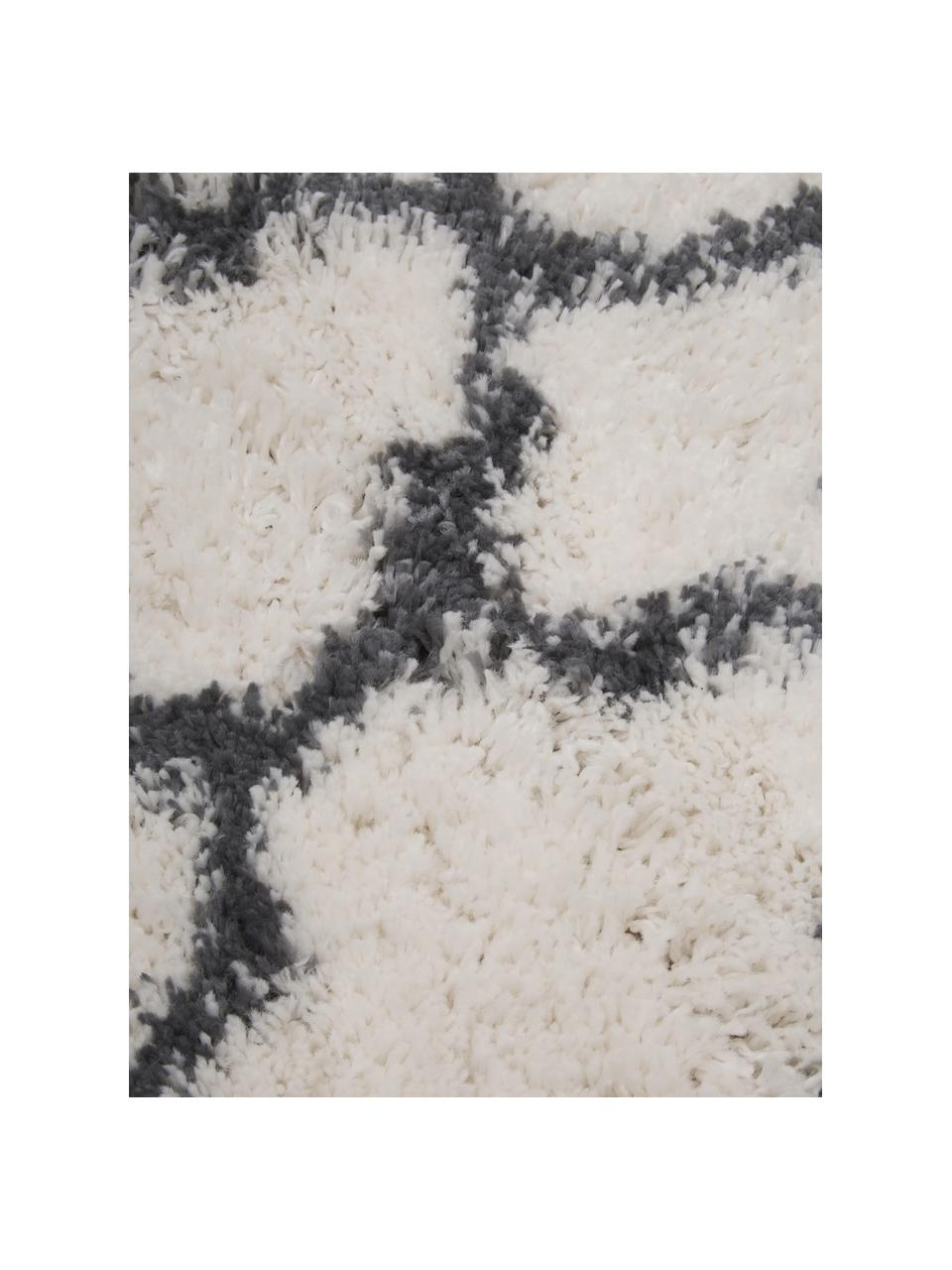 Hochflor-Läufer Mona in Creme/Dunkelgrau, Flor: 100% Polypropylen, Cremeweiß, Dunkelgrau, 80 x 250 cm
