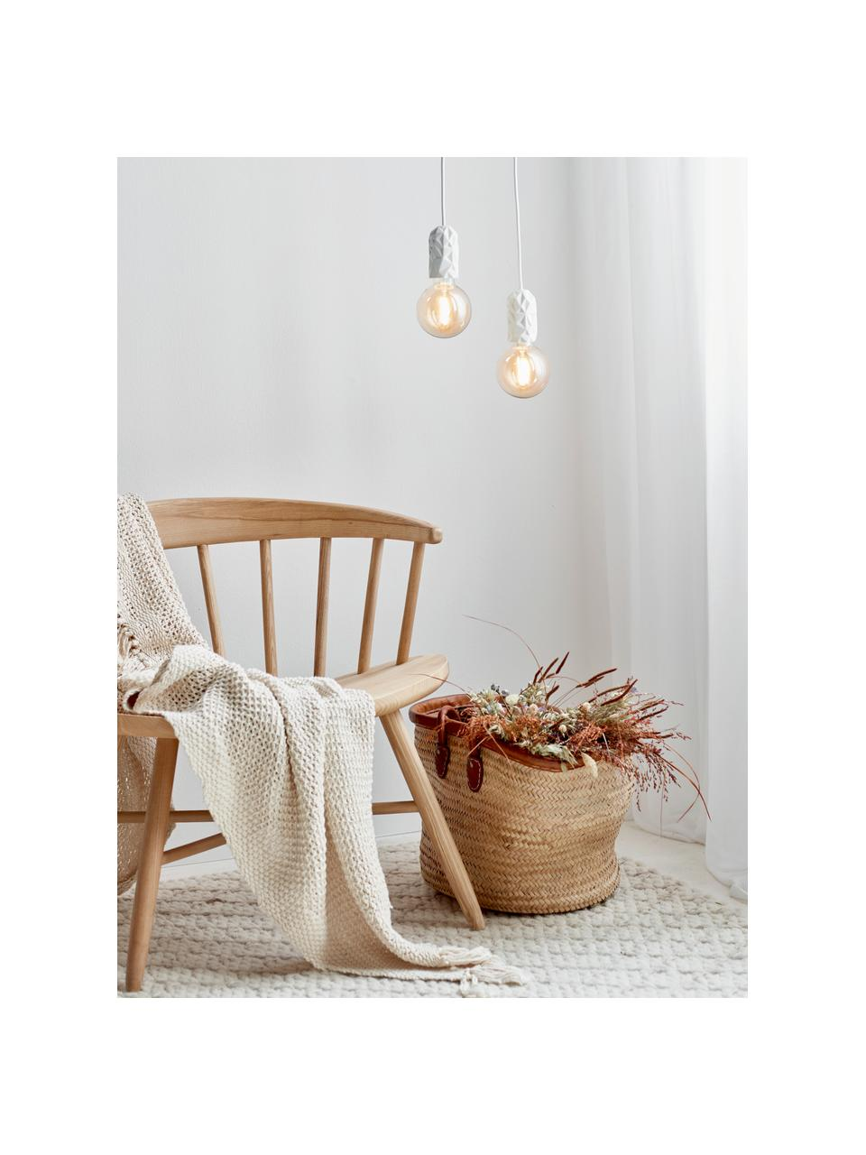 Lampa wisząca z porcelany Hang, Biały, Ø 5 x W 9 cm