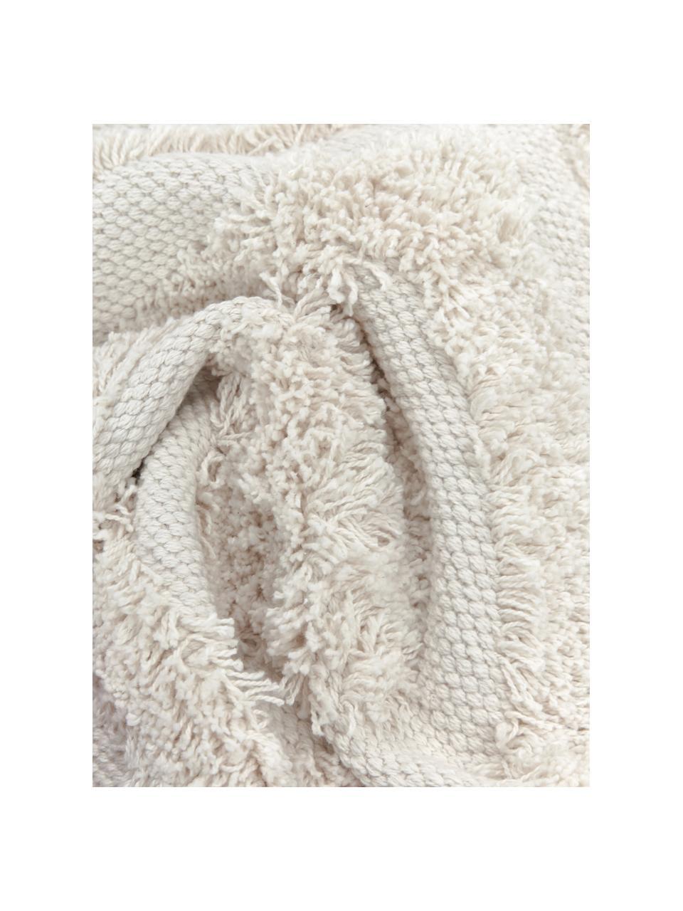 Kissenhülle Karina mit dekorativer Verzierung und Quasten, 100% Baumwolle, Beige, 45 x 45 cm