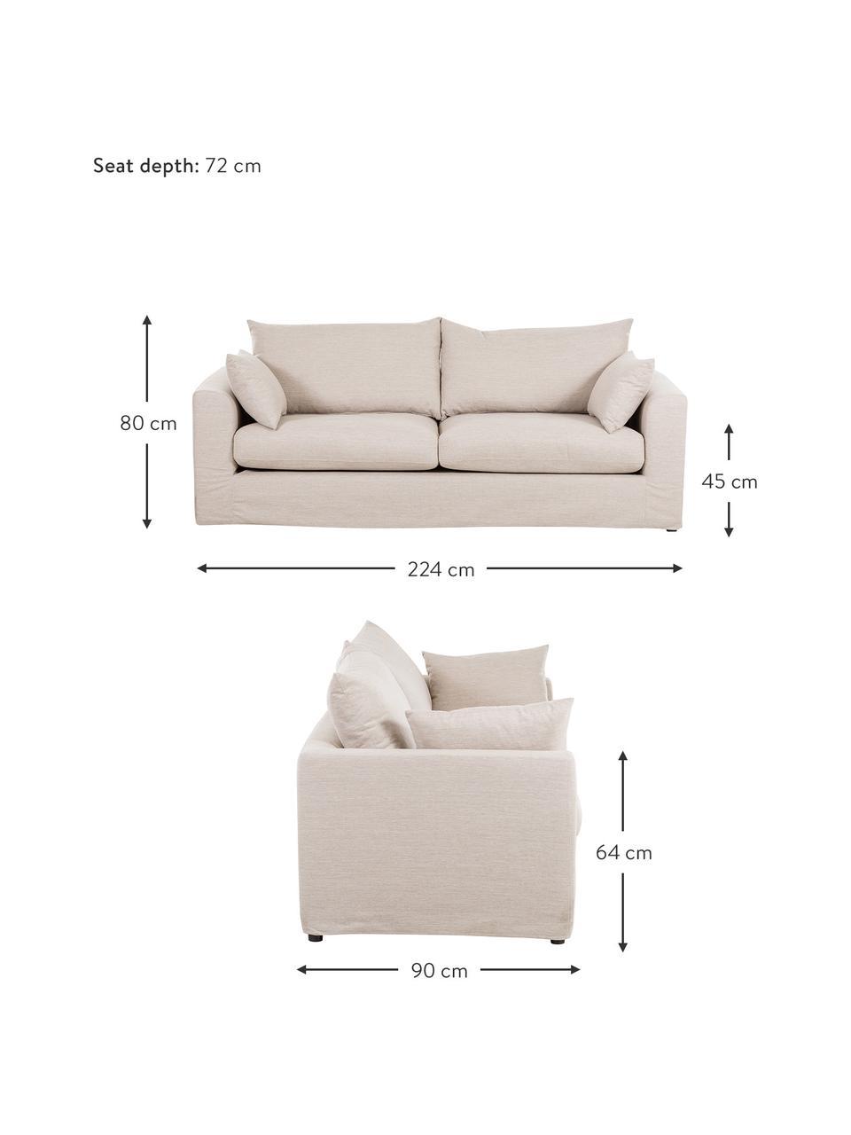 Sofa Zach (3-Sitzer) in Beige, Bezug: Polypropylen Der hochwert, Füße: Kunststoff, Webstoff Beige, B 224 x T 90 cm
