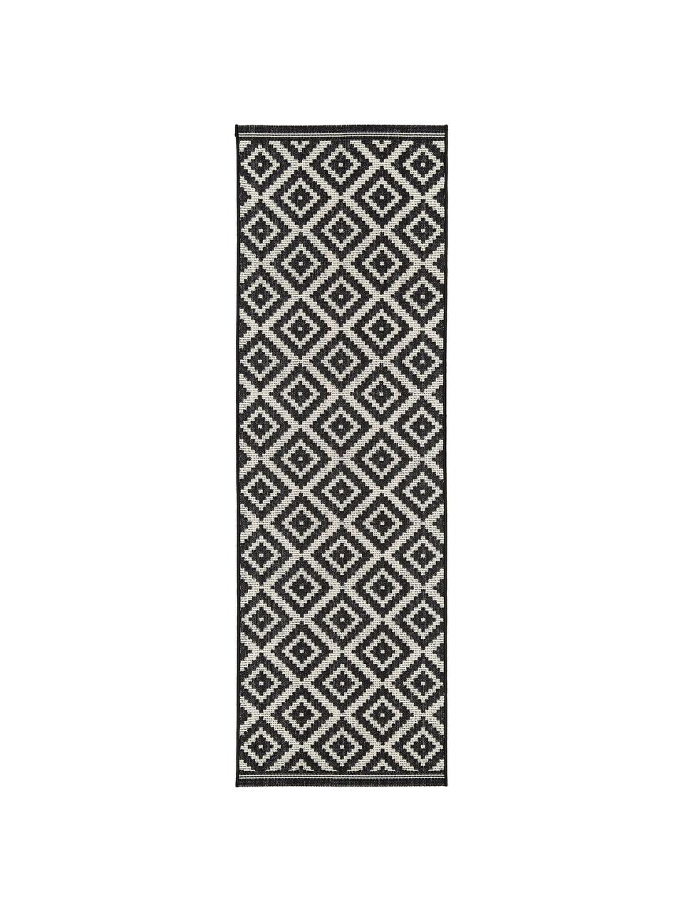 Gemusterter In- & Outdoor-Läufer Miami in Schwarz/Weiß, 86% Polypropylen, 14% Polyester, Cremeweiß, Schwarz, 80 x 250 cm